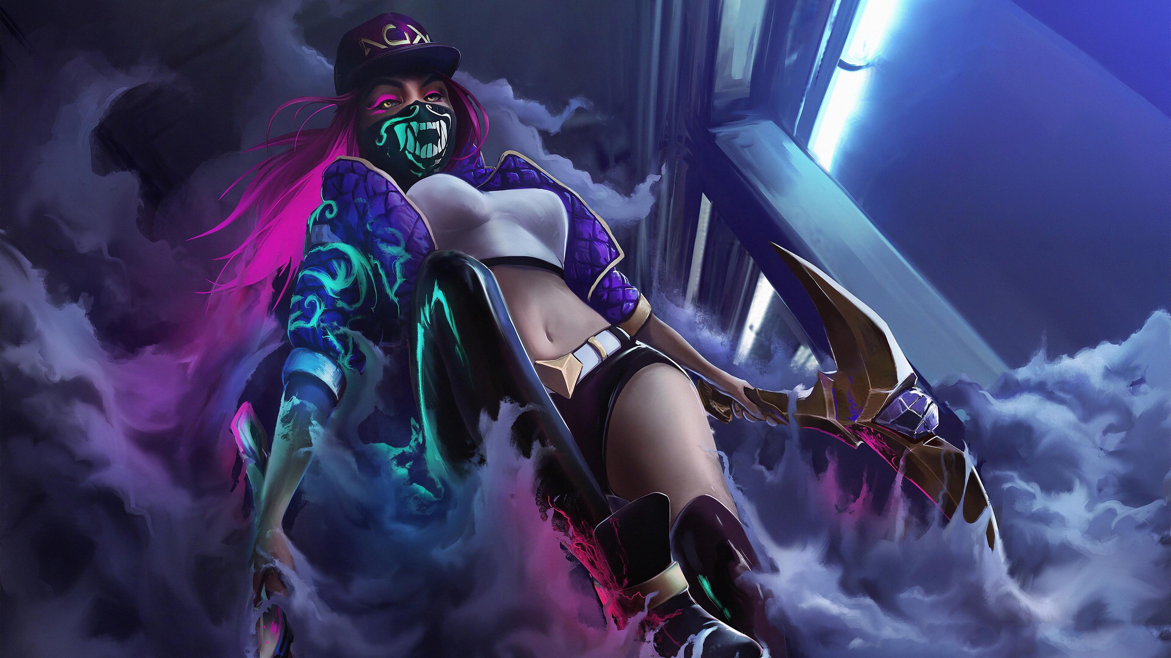 General 3840x2160 digital art artwork video games women Akali Akali(League of Legends) belly kda thighs League of Legends