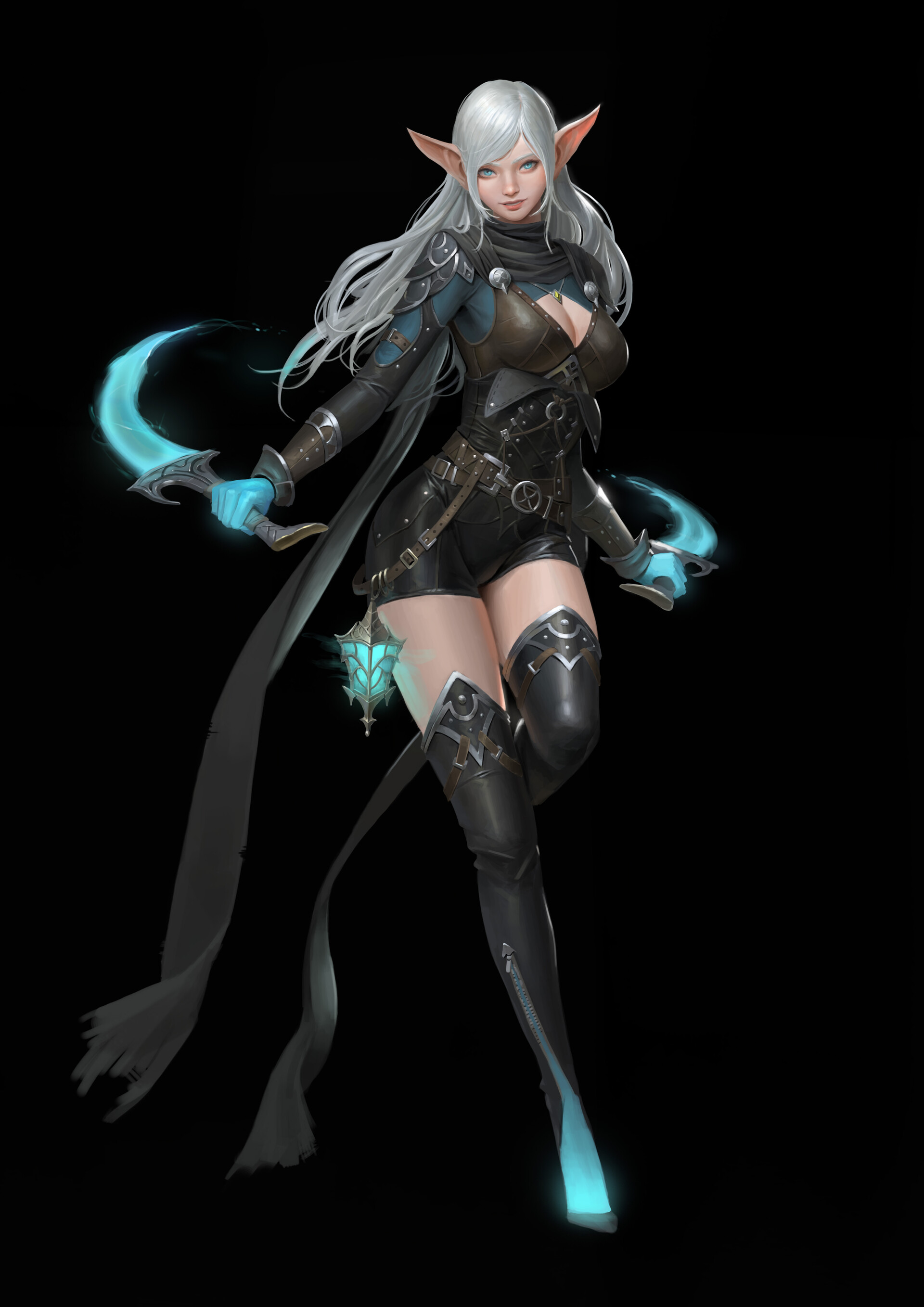 General 1920x2716 Hyunjoon Kim drawing women elves silver hair long hair armor Rogue dagger glowing weapon thigh-highs simple background black background blue eyes