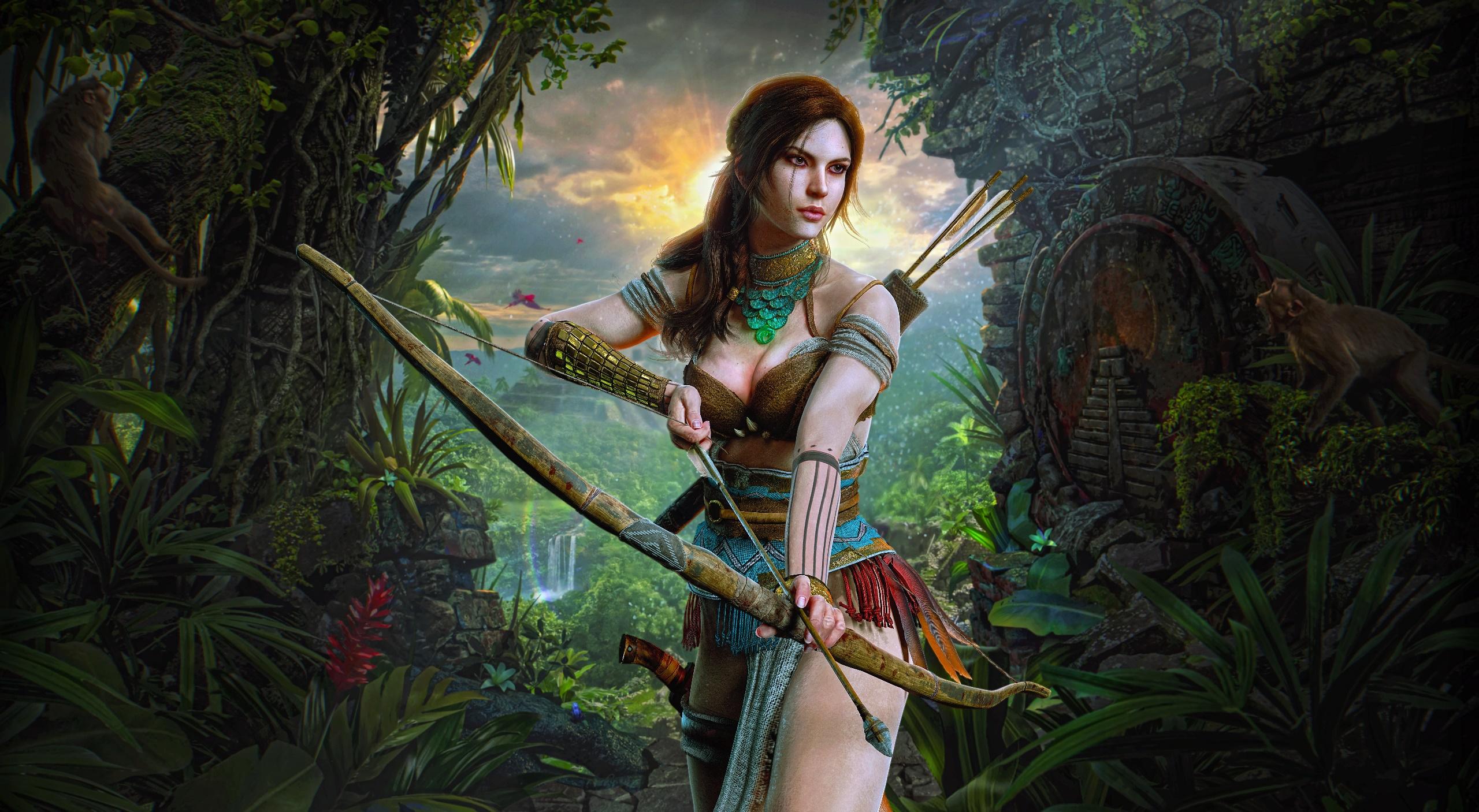 General 2560x1406 artwork bow archer fantasy girl fantasy art Lara Croft Shadow of the Tomb Raider