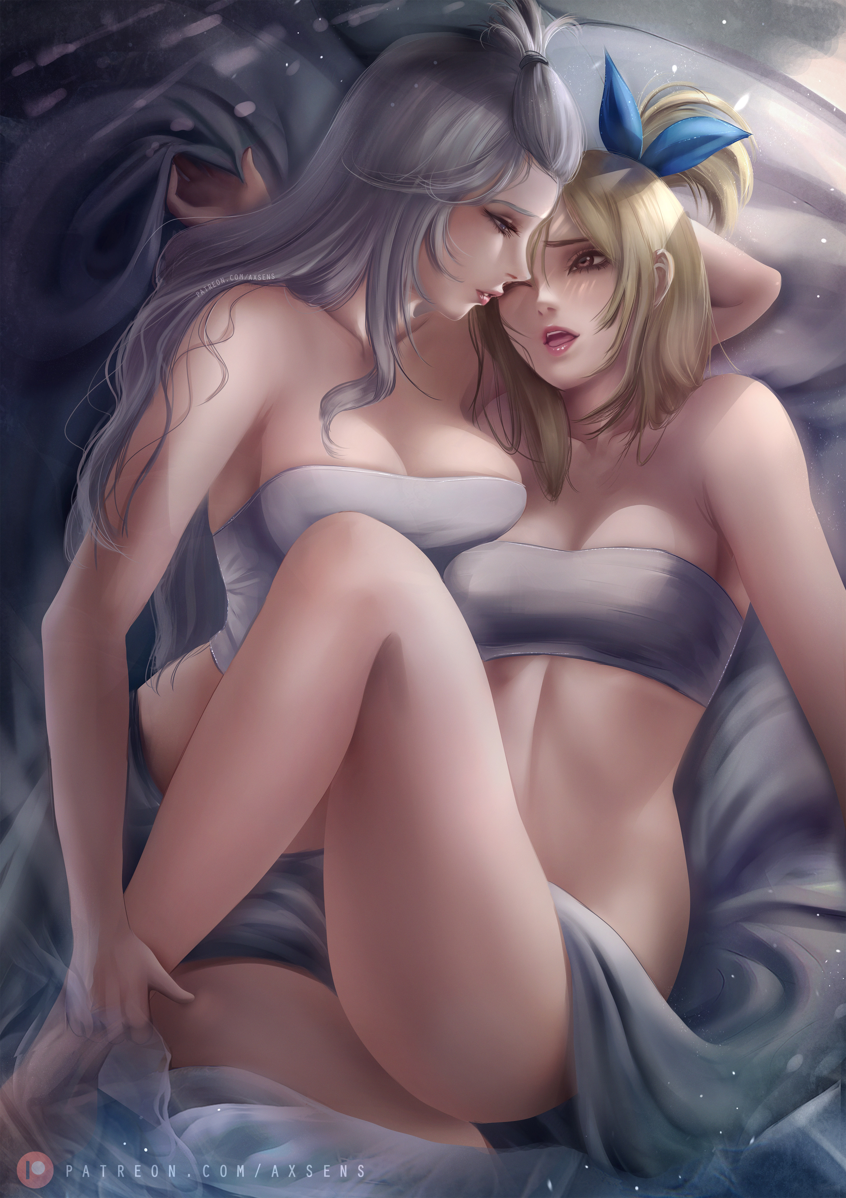 axsens, blonde, two women, lesbians, thighs, legs, short hair, long hair, cleavage, open mouth ...