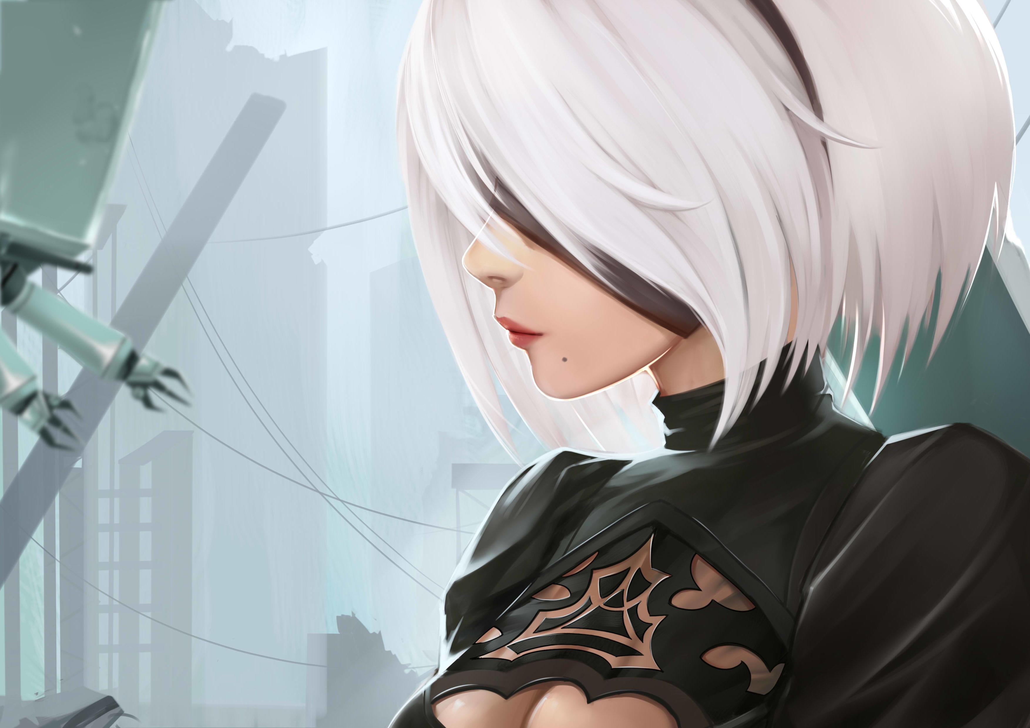 Anime 3507x2480 2B (Nier: Automata) Nier: Automata Yorha unit no.2 type b video games blindfold white hair short hair androids anime girls NieR