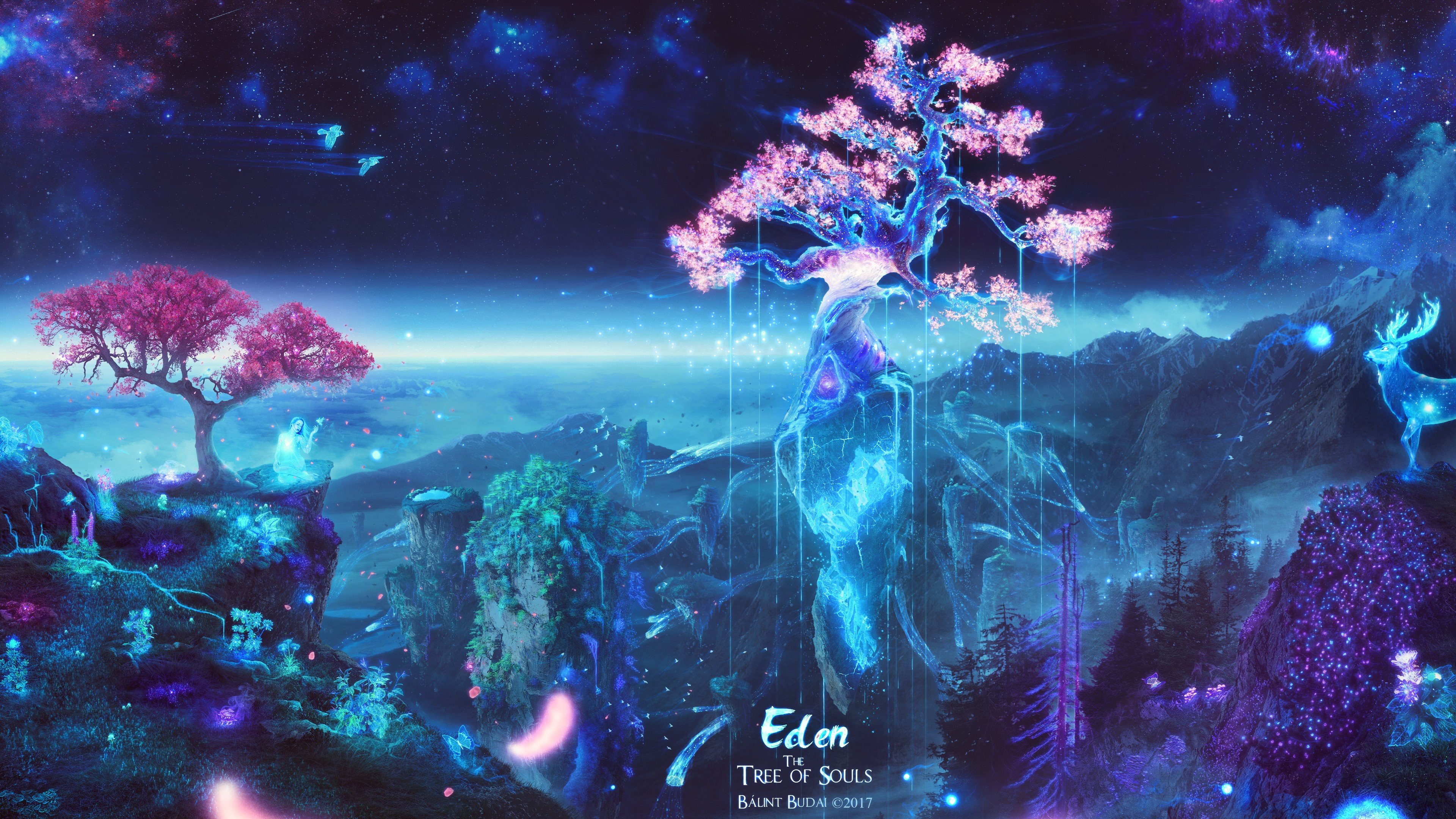 General 3840x2160 trees space galaxy souls sakura (tree) deer butterfly birds fantasy art Eden digital art nature sky cyan Bálint Budai