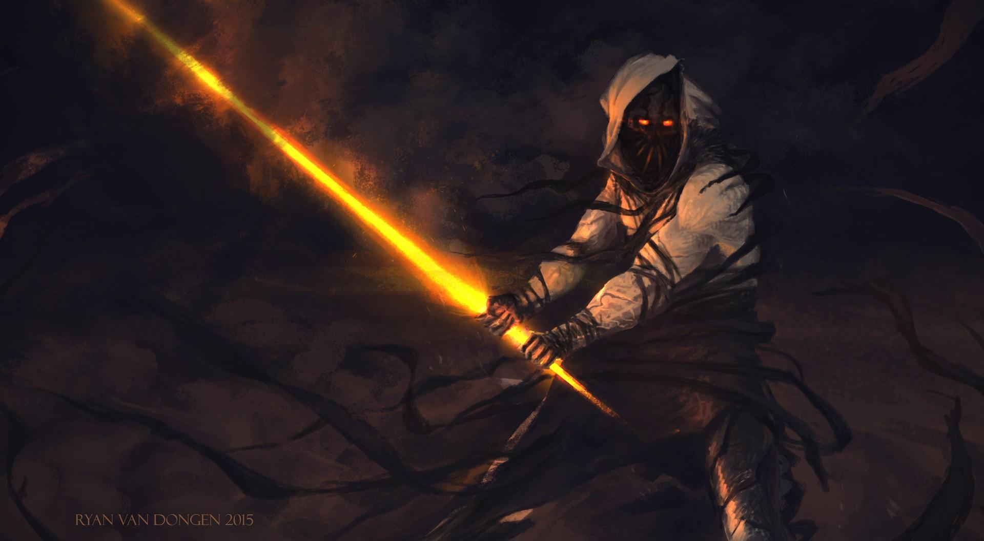 General 1920x1056 creature digital art sword orange eyes hoods yellow eyes Ryan van Dongen 2015 (Year) fantasy art dark fantasy glowing eyes demon warrior