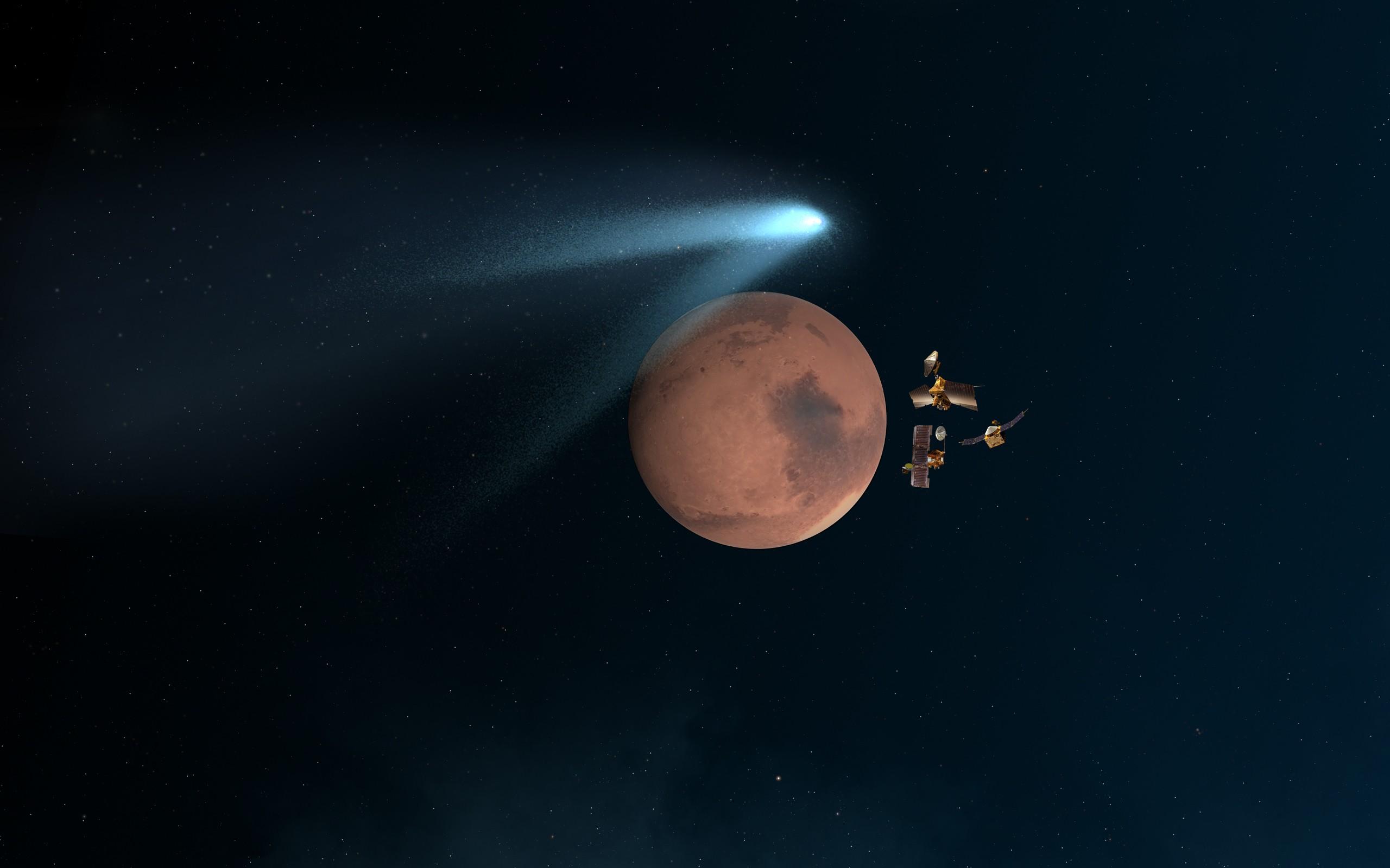 General 2560x1600 space universe planet NASA Mars CGI spaceship satellite lights