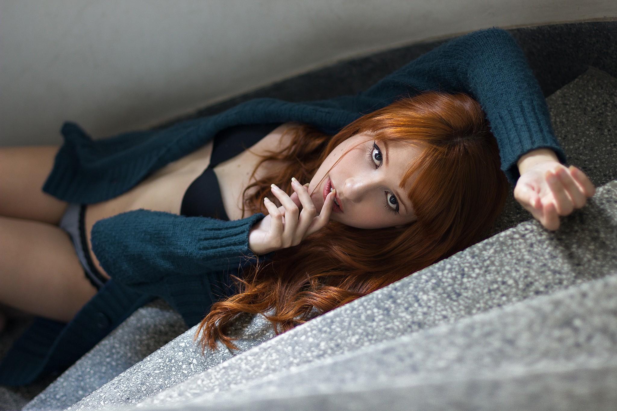 People 2048x1365 women panties black bras sweater redhead open shirt lingerie lying on back stairs looking at viewer bra blue sweater
