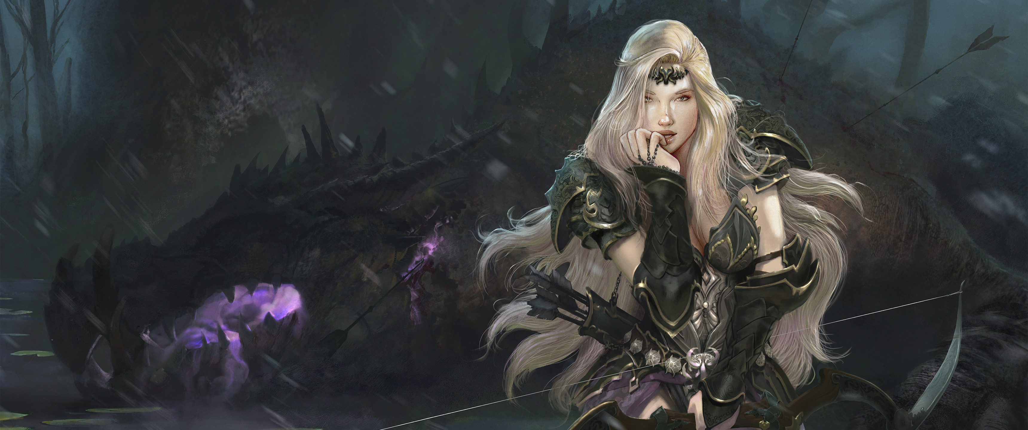 General 3440x1440 Girl With Weapon fantasy girl fantasy art blonde archer bow long hair