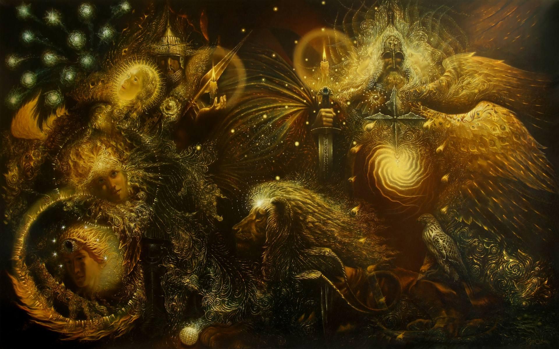 General 1920x1199 trippy psychedelic fractal Norse mythology lion