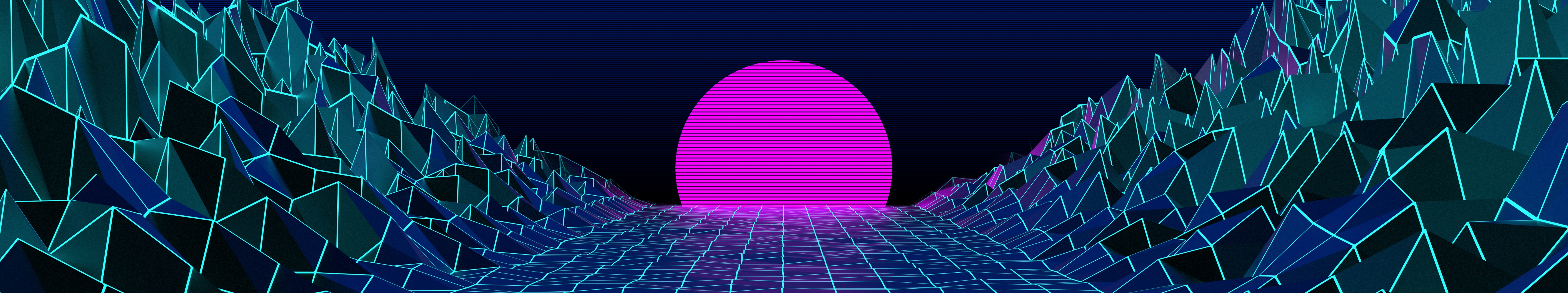 General 5760x1080 synthwave retrowave Retrowave scanlines grid mountains