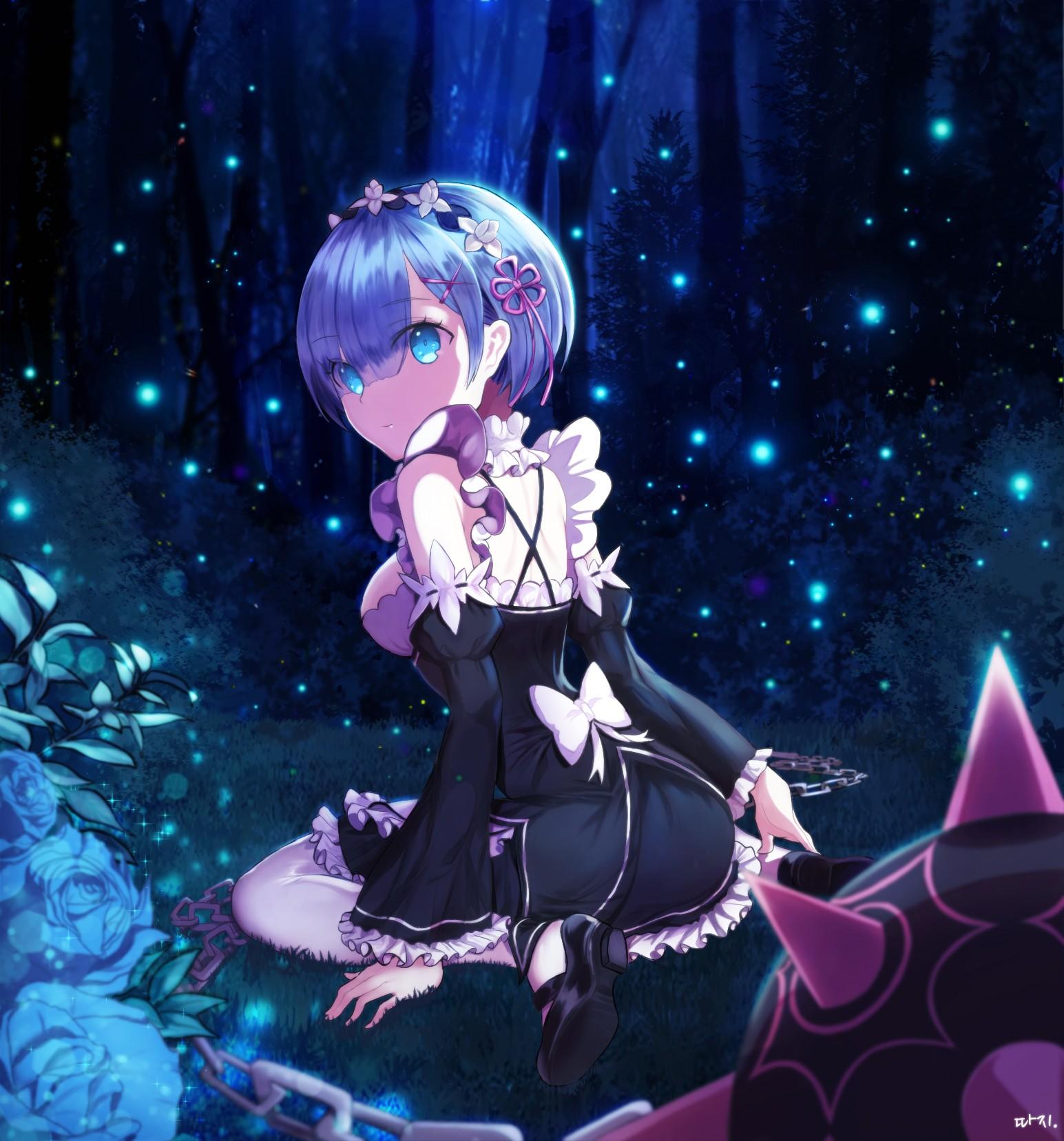 Anime 1545x1657 Re:Zero Kara Hajimeru Isekai Seikatsu Rem (Re: Zero) maid outfit short hair blue hair blue eyes trees forest weapon chains blue rose plants