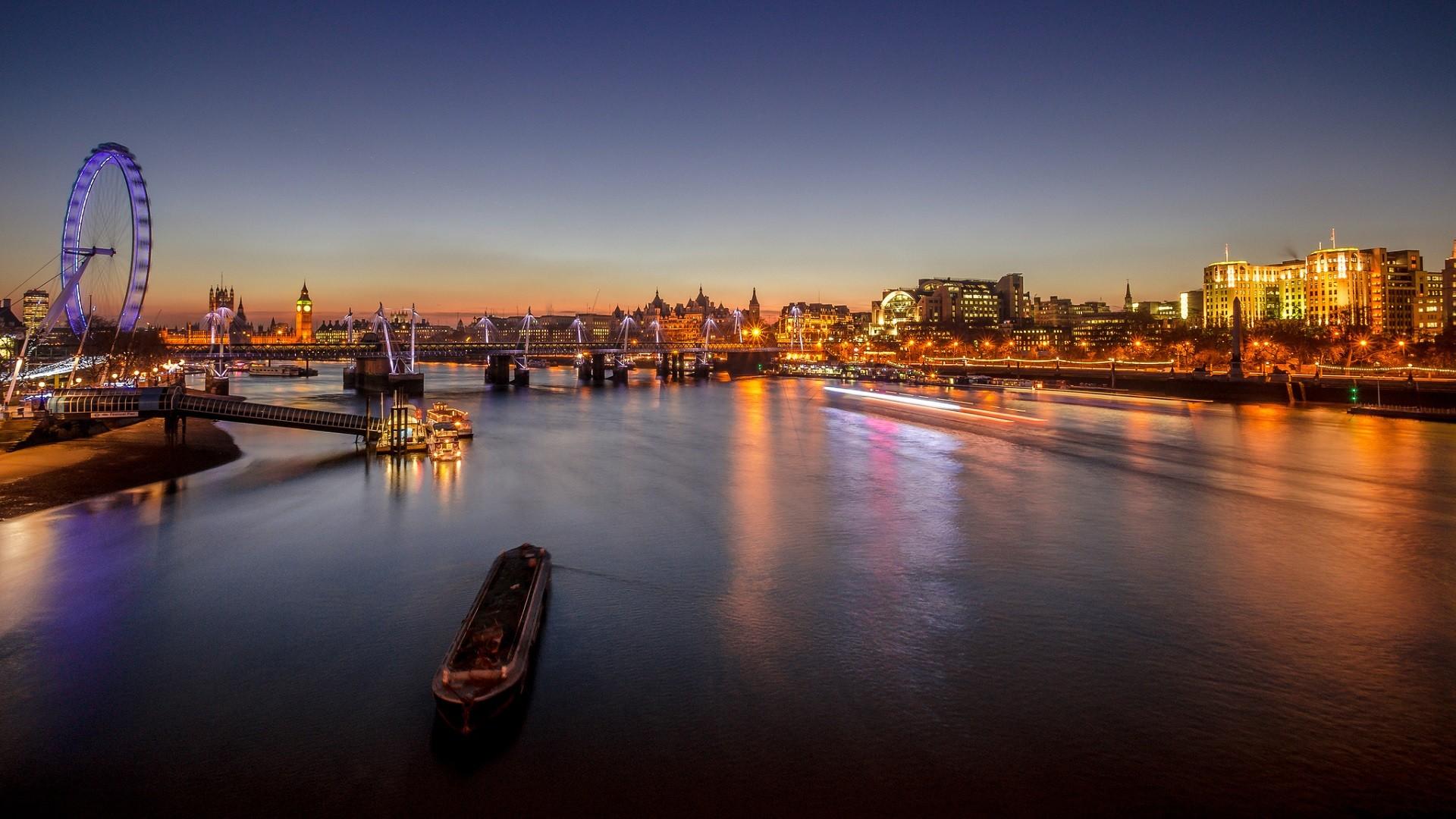 General 1920x1080 England London city cityscape river River Thames ferris wheel London Eye bridge lights city lights Big Ben