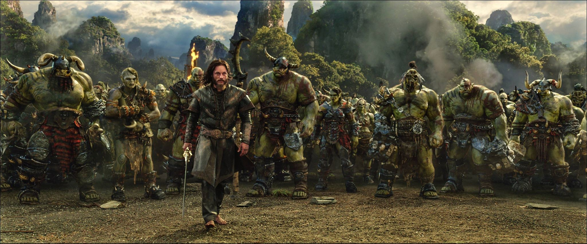 People 2048x853 Warcraft movies Fantasy Men screen shot orcs