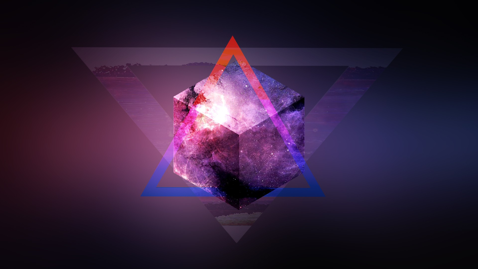 General 1920x1080 space mix up purple triangle blurred 3D