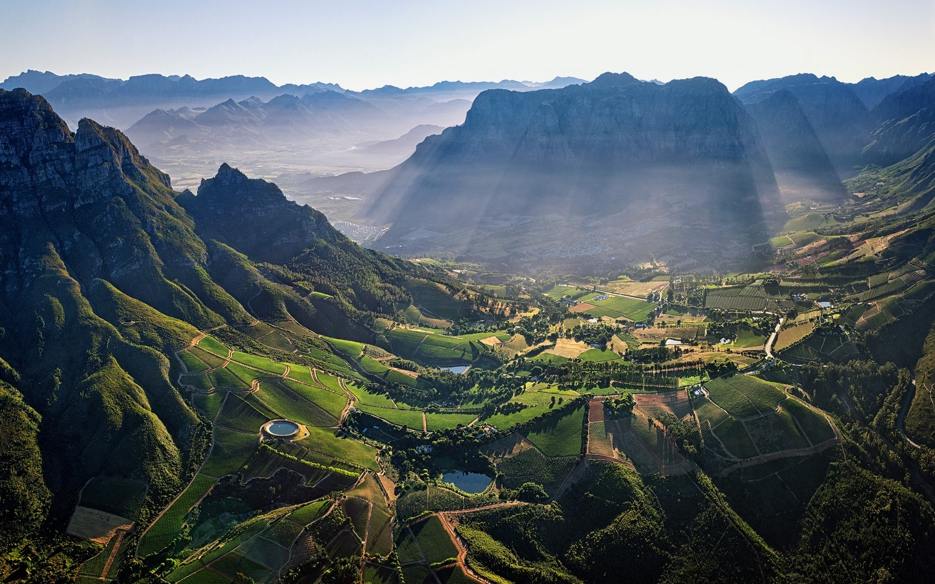 General 1920x1200 photography nature landscape aerial view mountain pass field pond village morning sunlight sun rays mist South Africa