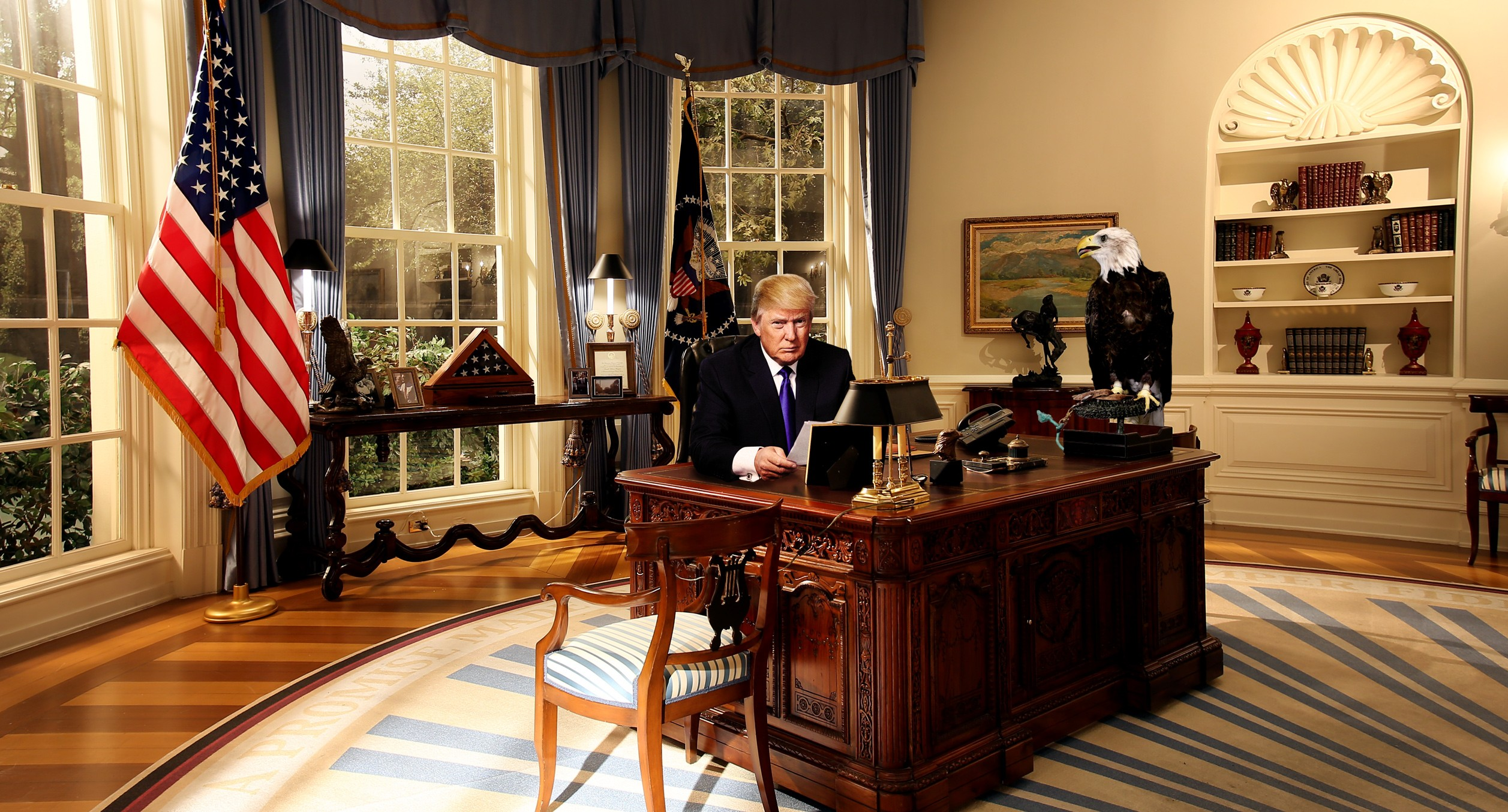 People 2514x1354 Donald Trump North America freedom Democracy politics blonde American flag flag USA presidents Stars and Stripes