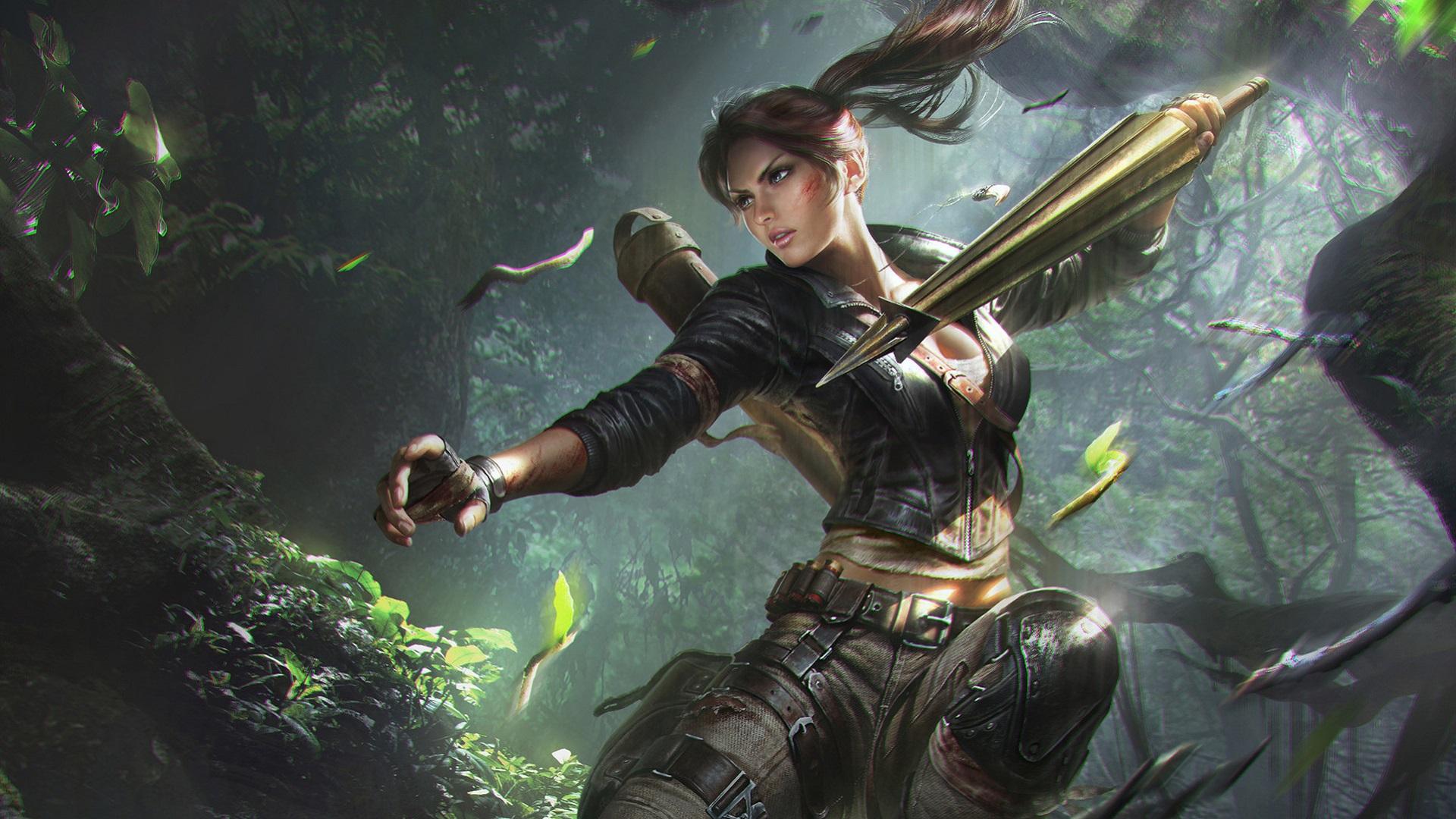General 1920x1080 digital art women Lara Croft Tomb Raider ponytail video games