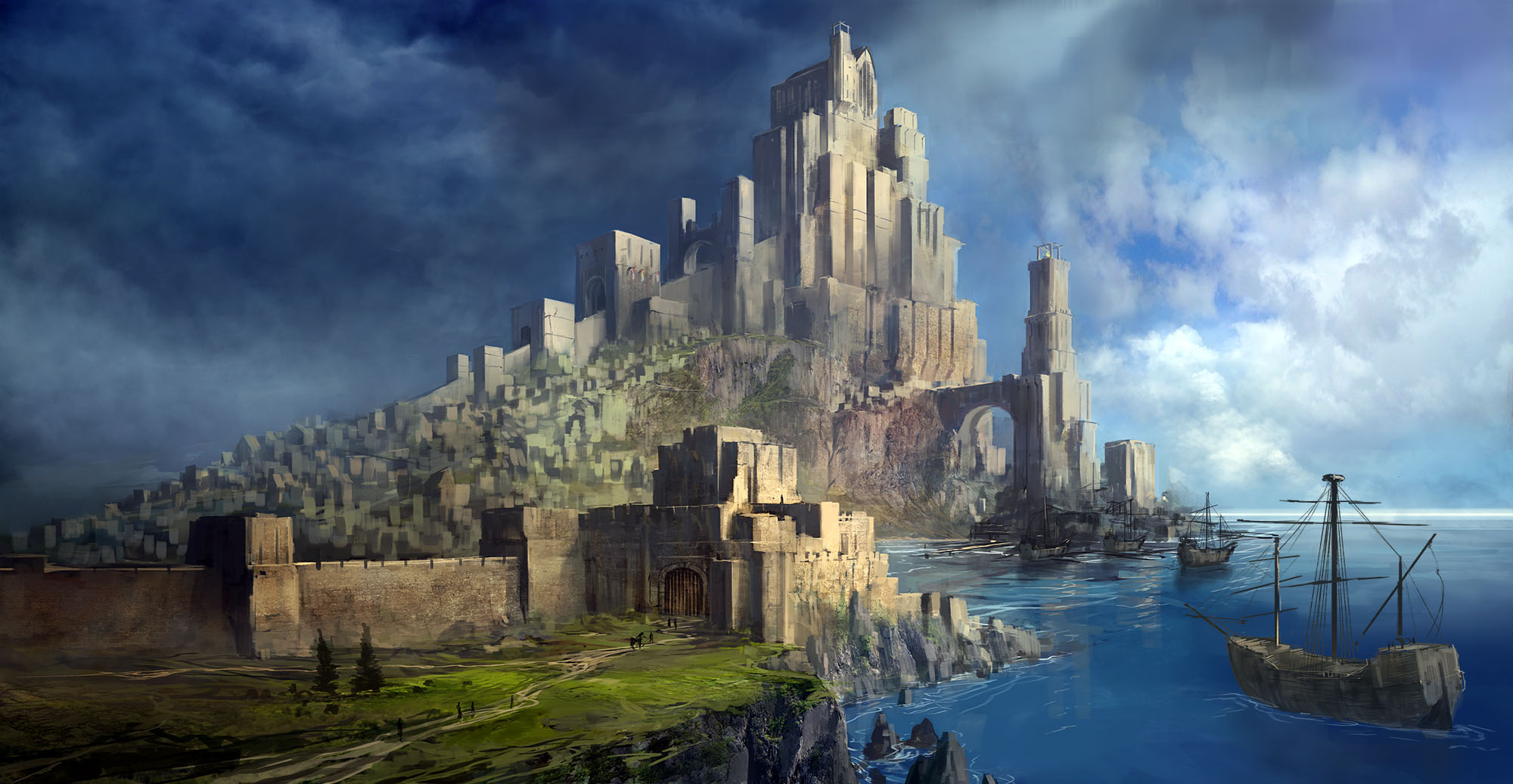 General 2000x1037 digital art fantasy art castle sailing ship sea clouds cliff monastery arch Final Fantasy video games wall