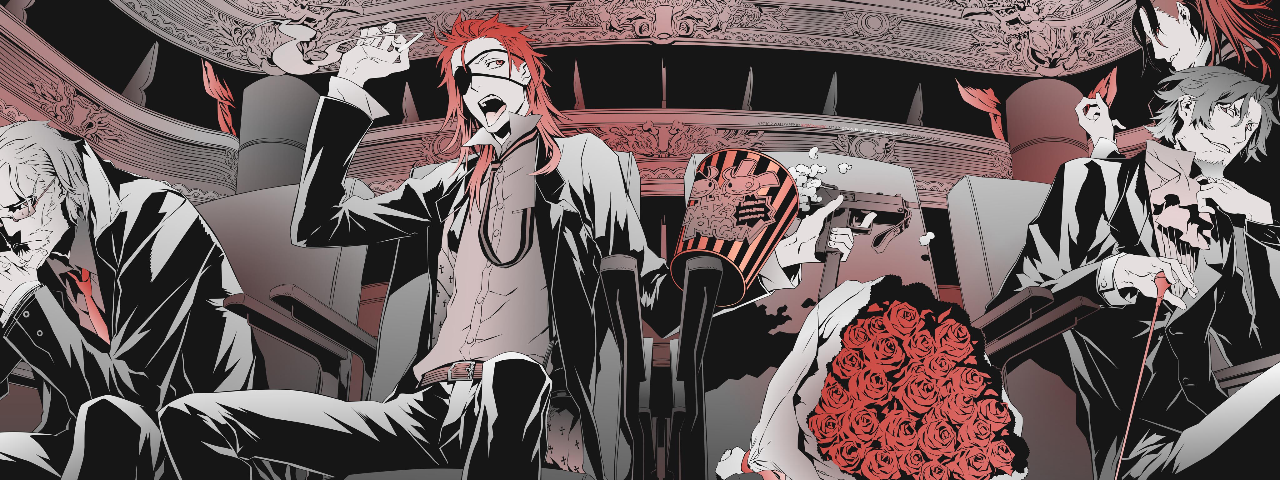 Anime 4096x1536 Bungou Stray Dogs theater rose popcorn eyepatches uzi