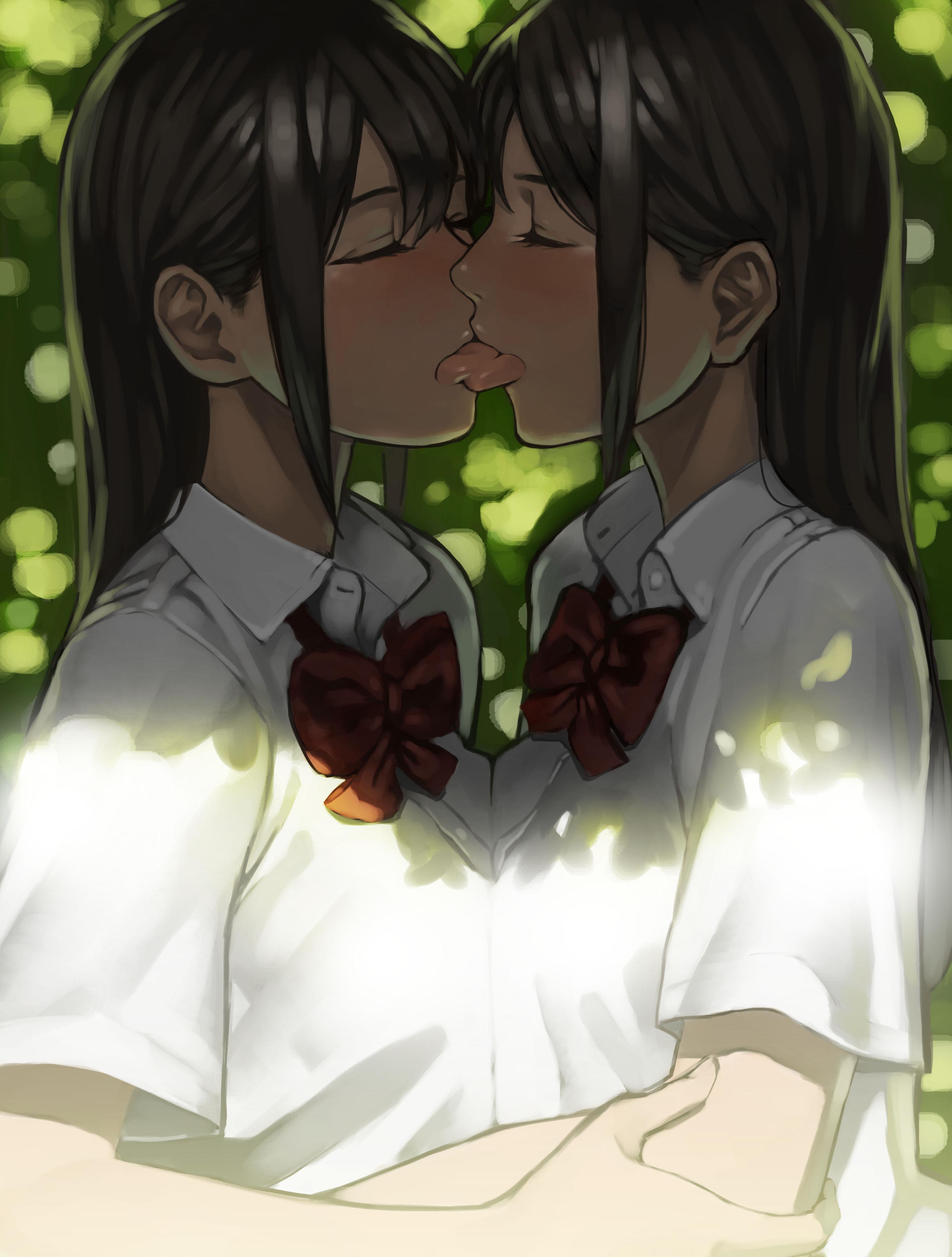 original characters, lesbians, yuri, kissing | 2975x3927