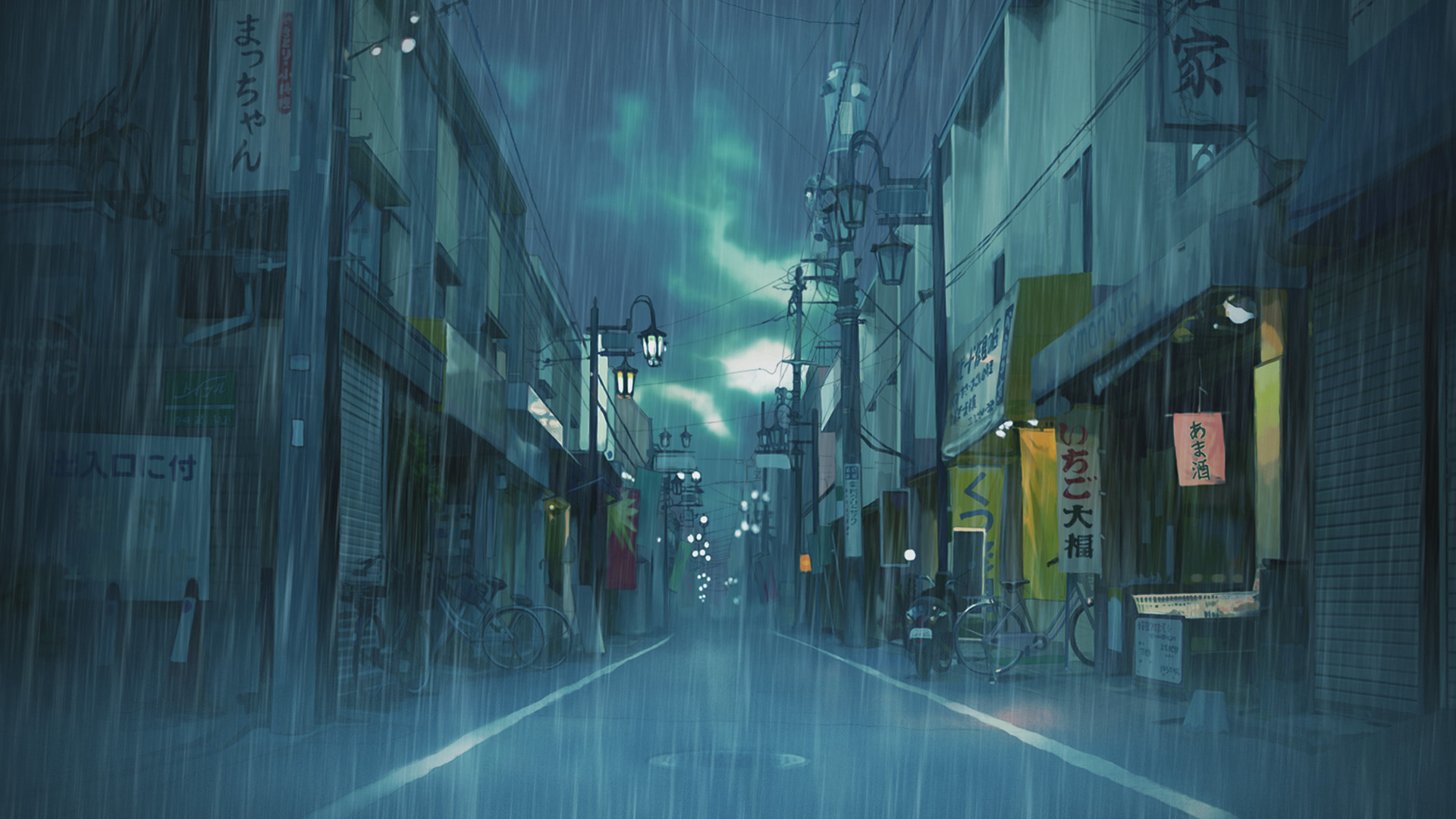 General 1920x1080 Japan street cityscape clouds rain landscape Asian illustration