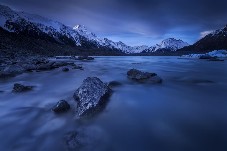 General 1500x1000 nature photography landscape lake mountains snow sunrise blue New Zealand violet 500px
