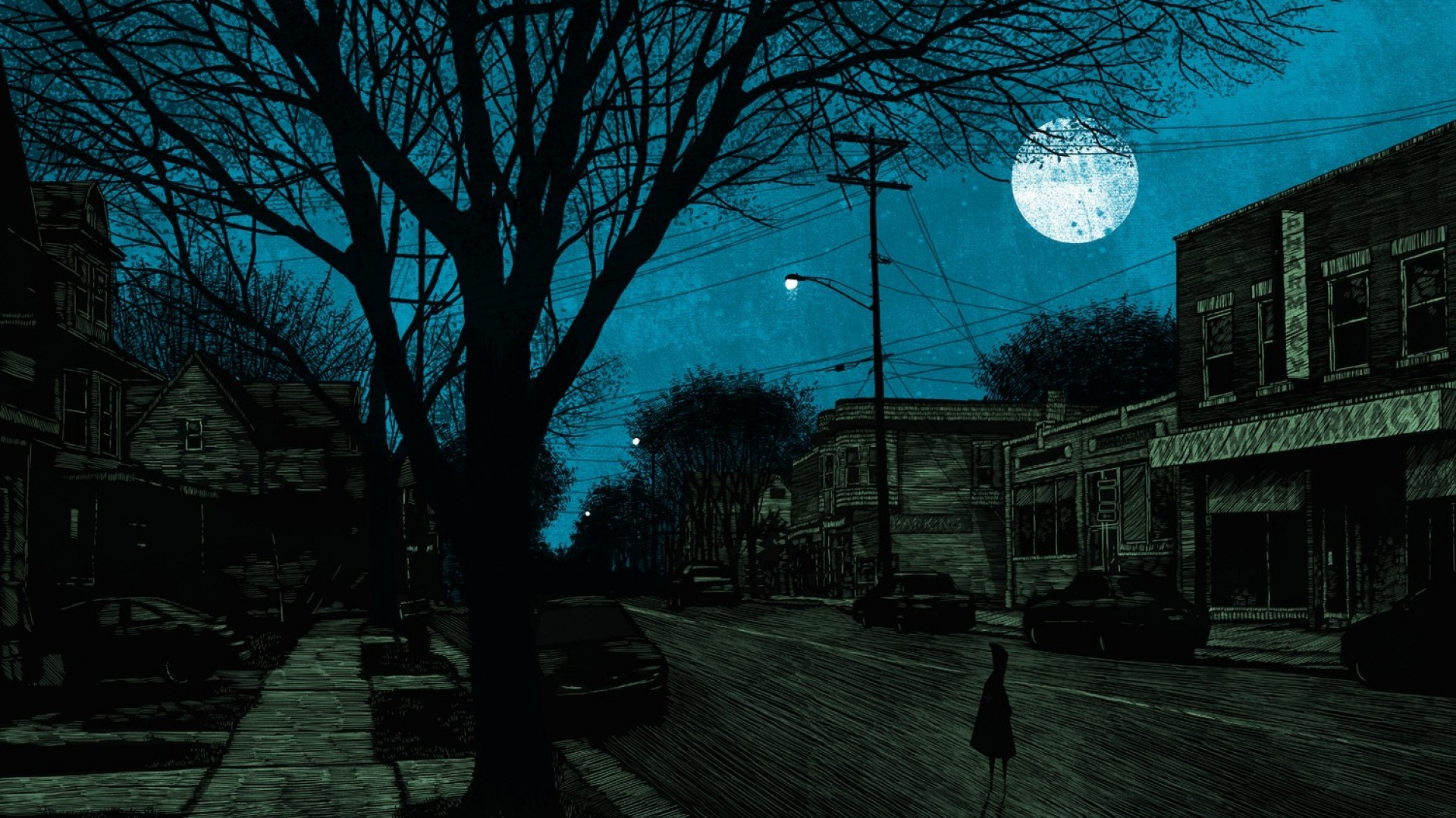 General 1920x1080 dark town creepy night artwork Moon