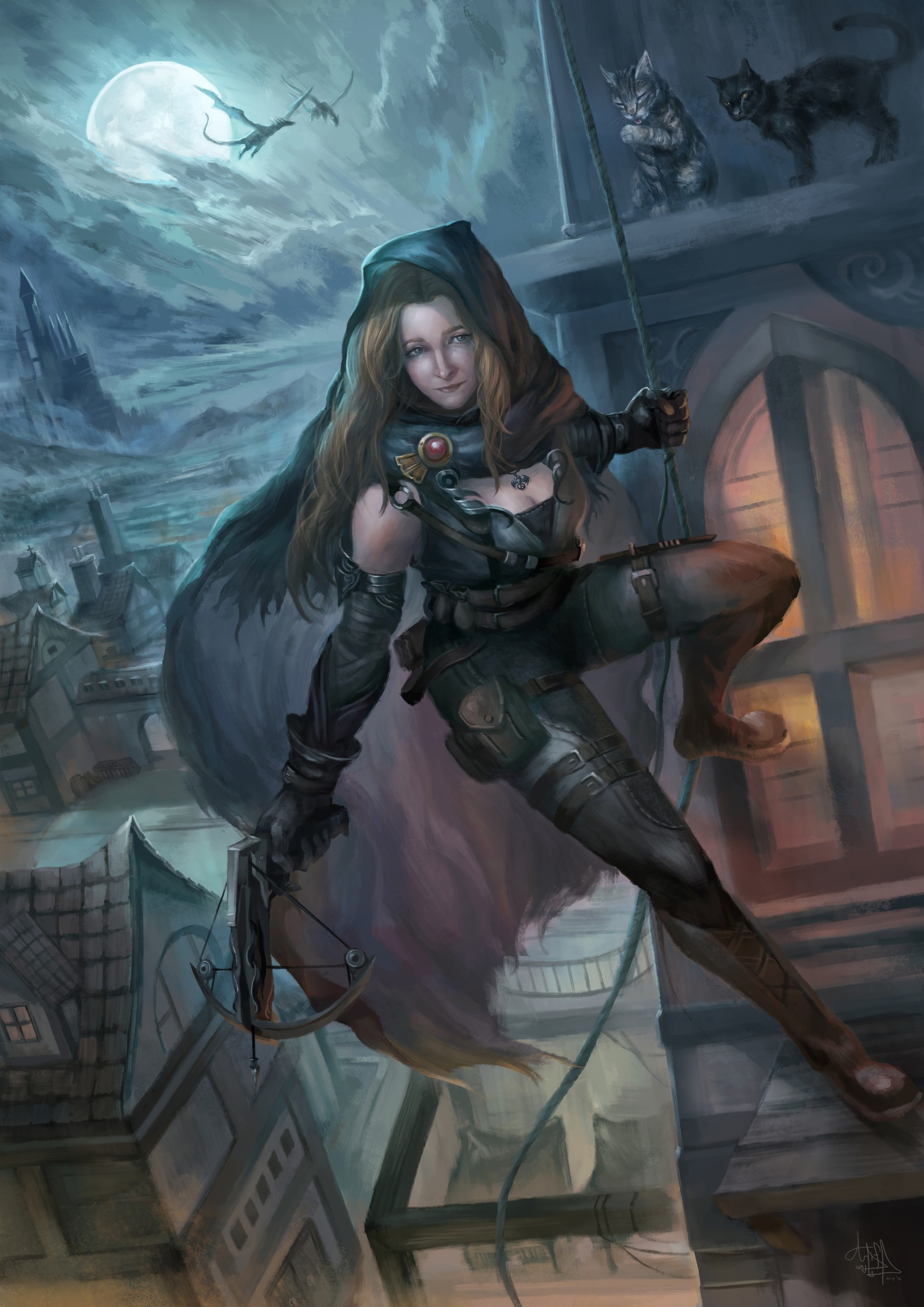 General 1920x2716 fantasy art warrior fantasy girl night cats fantasy city Moon