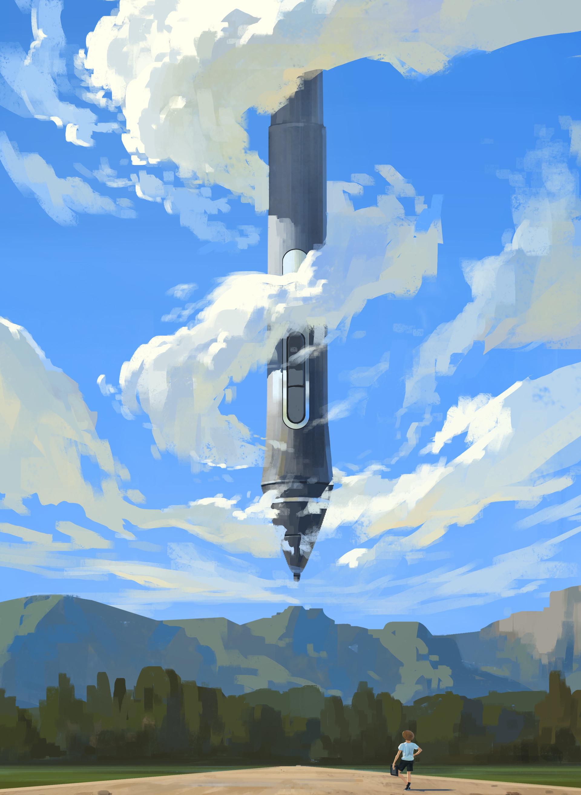 General 1920x2624 Shin jong hun painting pencils men clouds nature