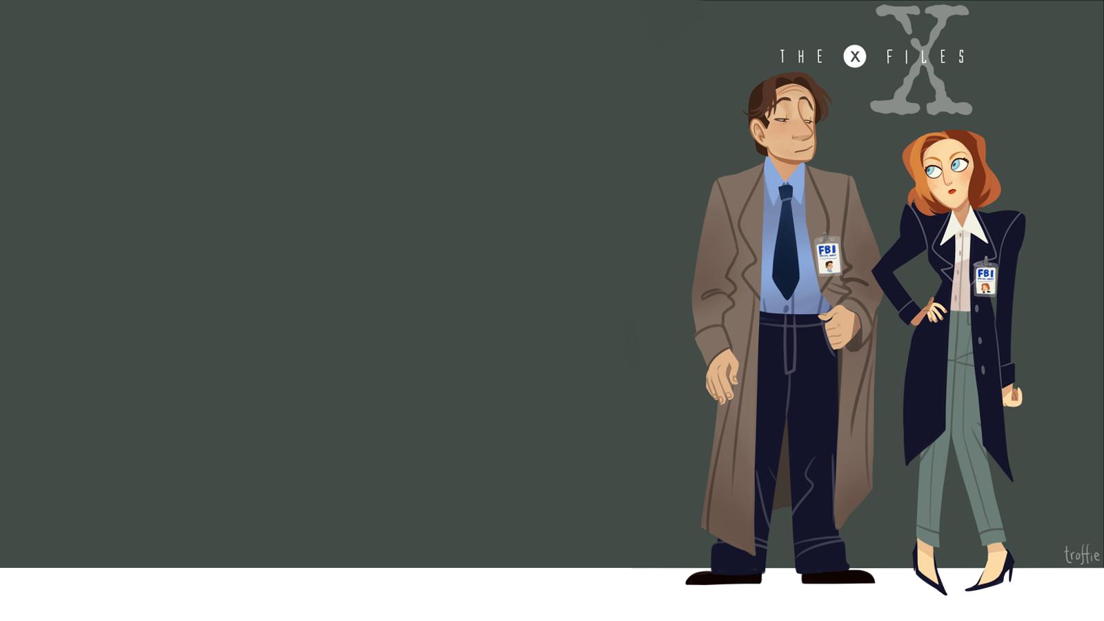 General 1600x900 digital art simple background The X-Files Dana Scully Fox Mulder cartoon fan art TV Series