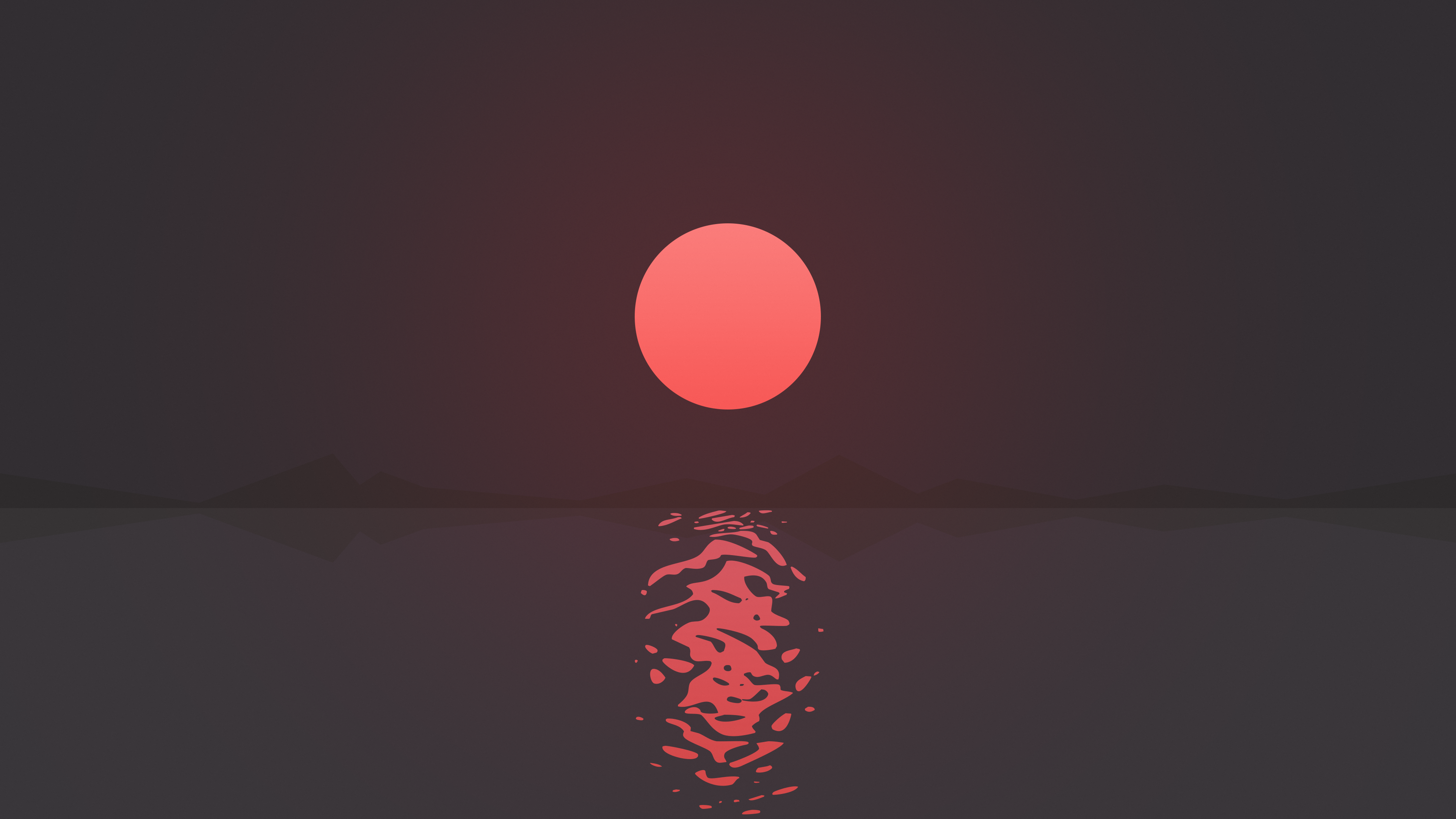 General 3840x2160 Sun minimalism mountains reflection sea