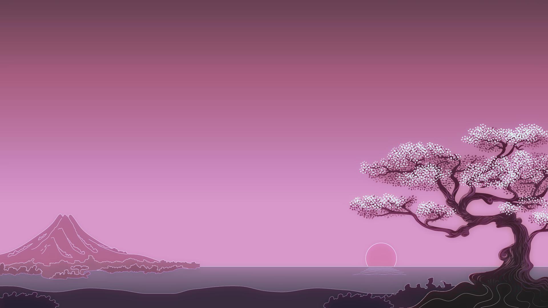General 1920x1080 minimalism digital art trees Sun simple background Japan