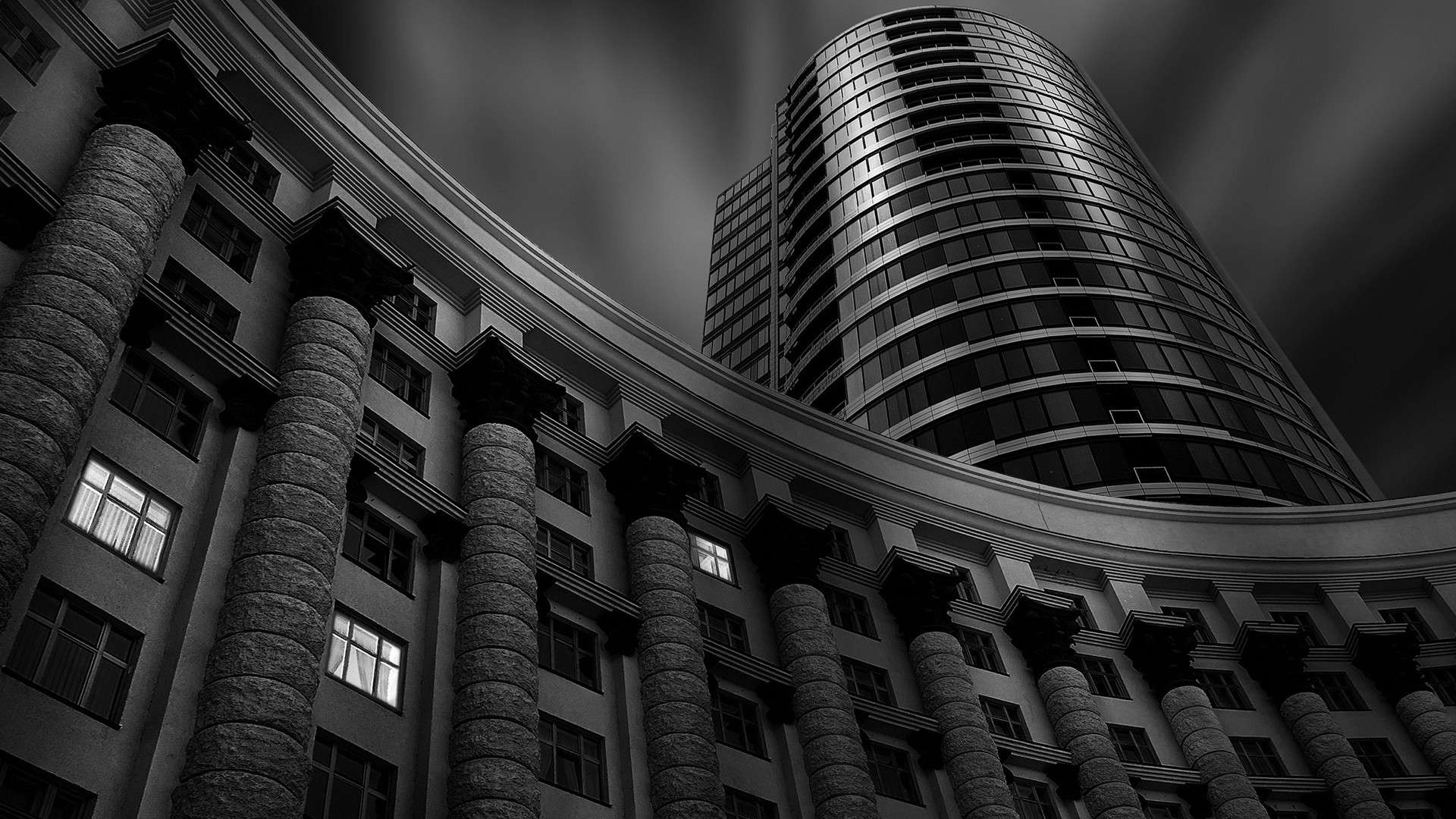 General 1920x1080 monochrome architecture modern building window clouds long exposure blurred