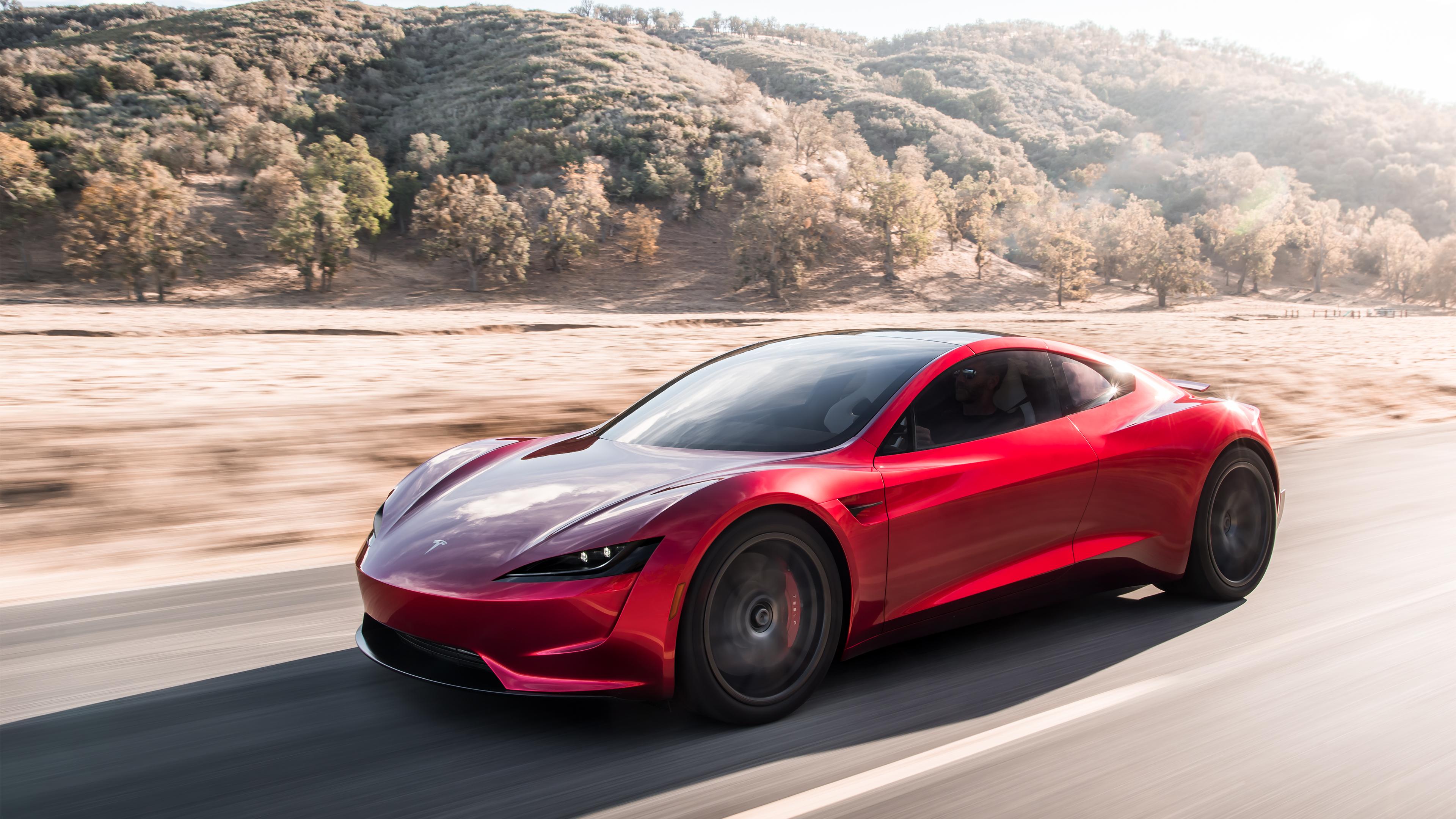 General 3840x2160 car Tesla Motors Tesla Roadster supercars sports car electric car road photography trees Tesla
