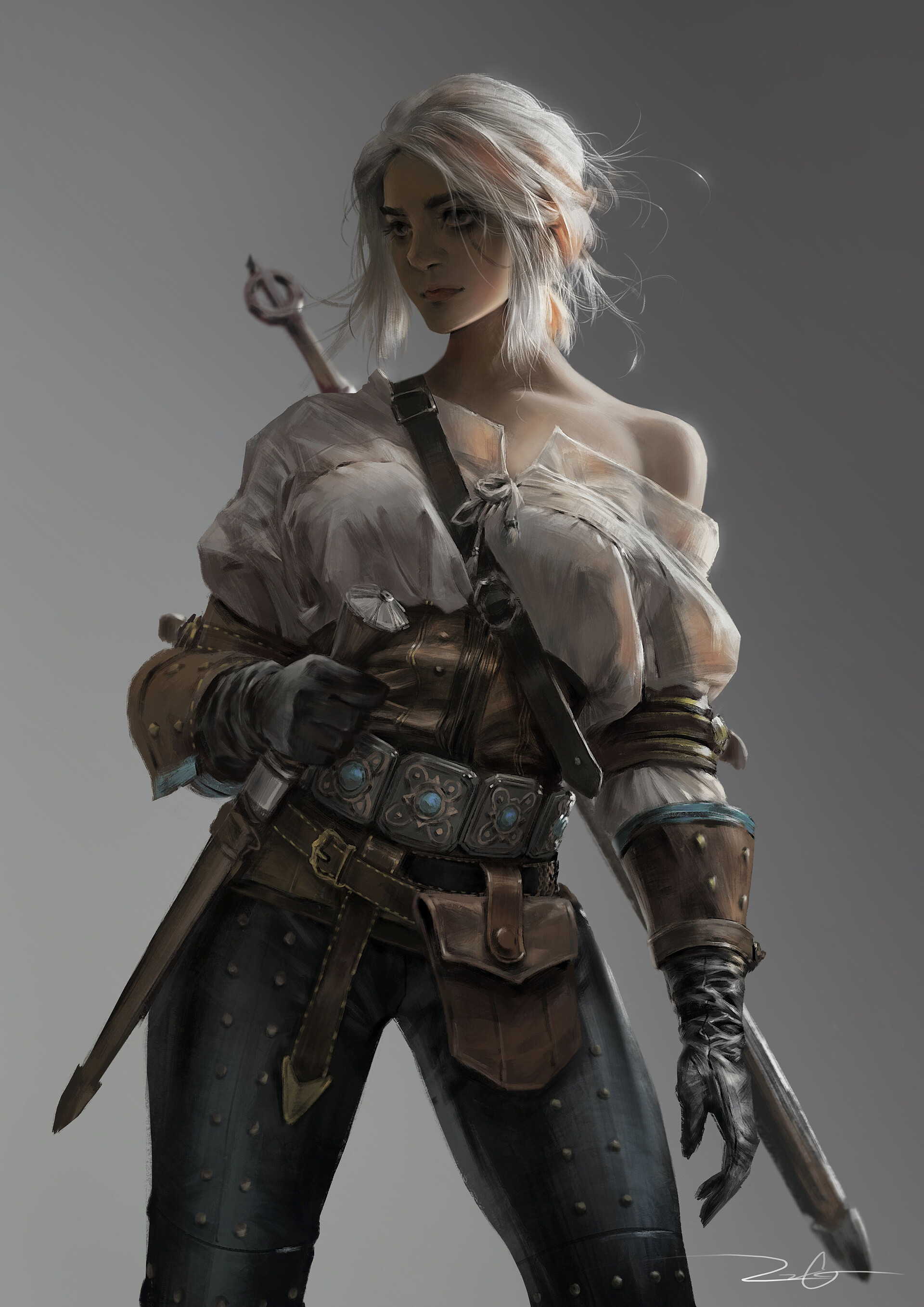 General 1920x2715 Vinci R video game girls video game characters white hair blonde women The Witcher 3 The Witcher 3: Wild Hunt Ciri (The Witcher) Cirilla portrait display Cirilla Fiona Elen Riannon fan art digital art drawing video games simple background ArtStation