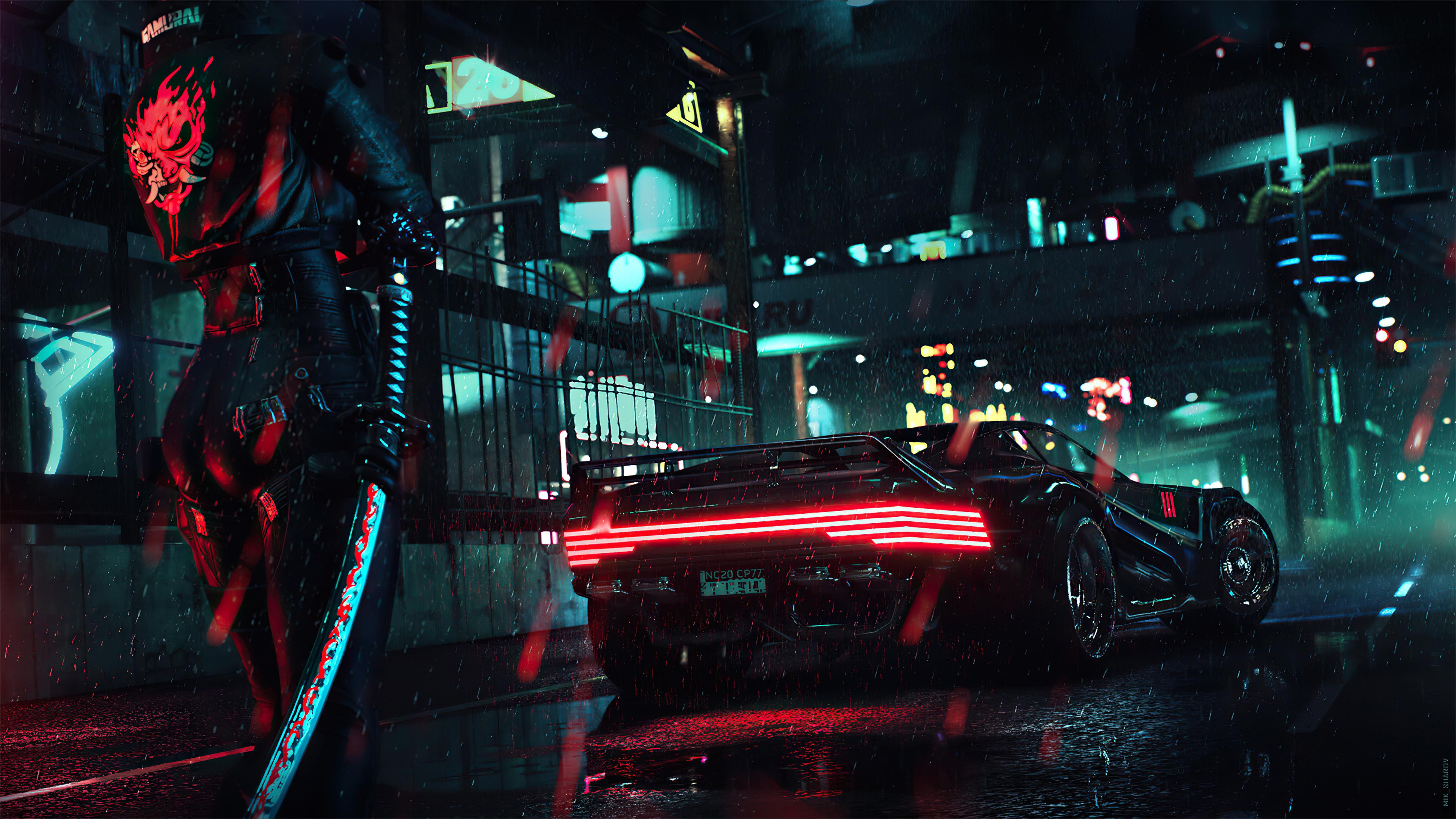 General 3840x2160 video games samurai katana car rain night cyberpunk Cyberpunk 2077 cyan