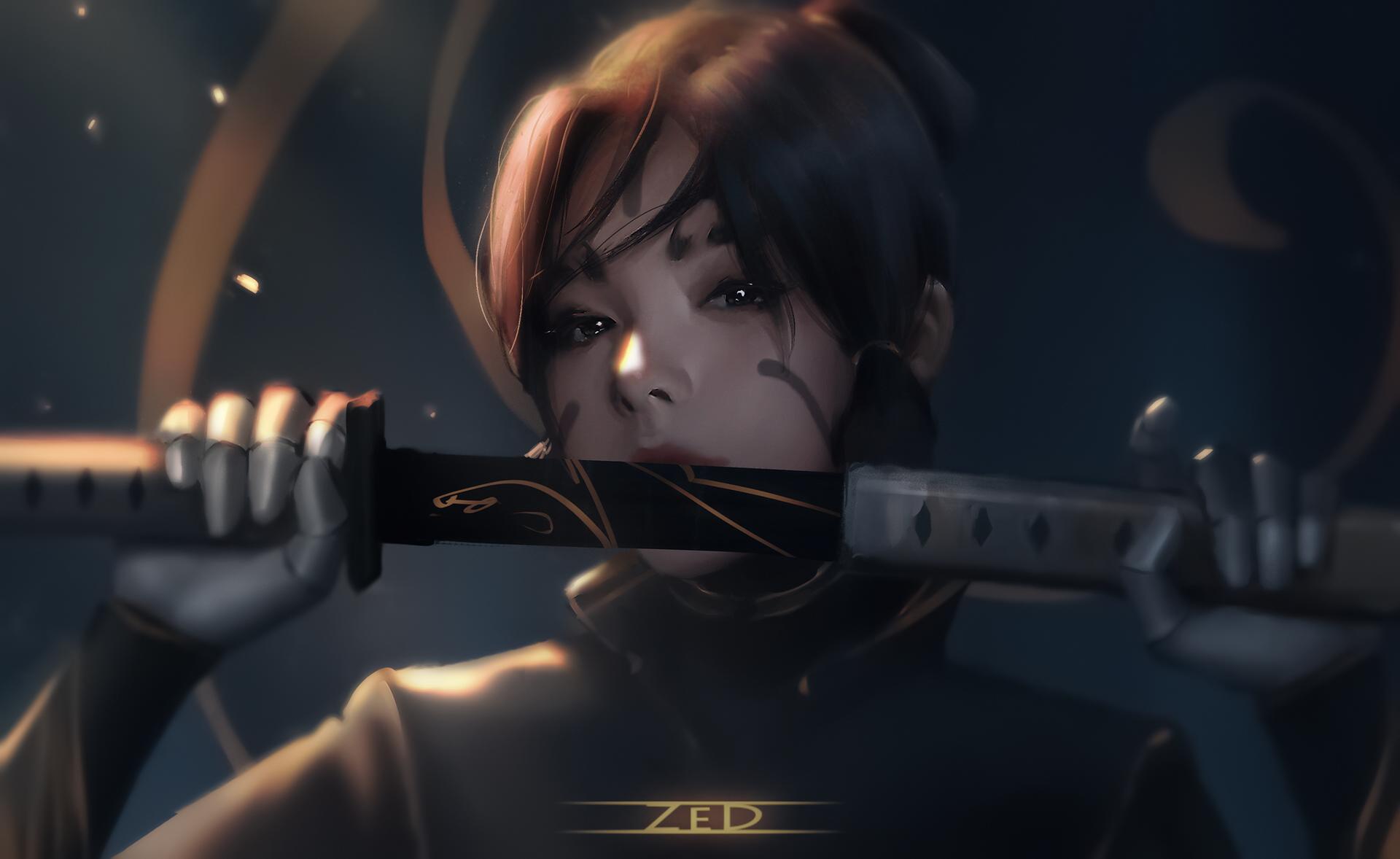General 1920x1178 Trungbui drawing women brunette portrait dark eyes weapon sword sheath