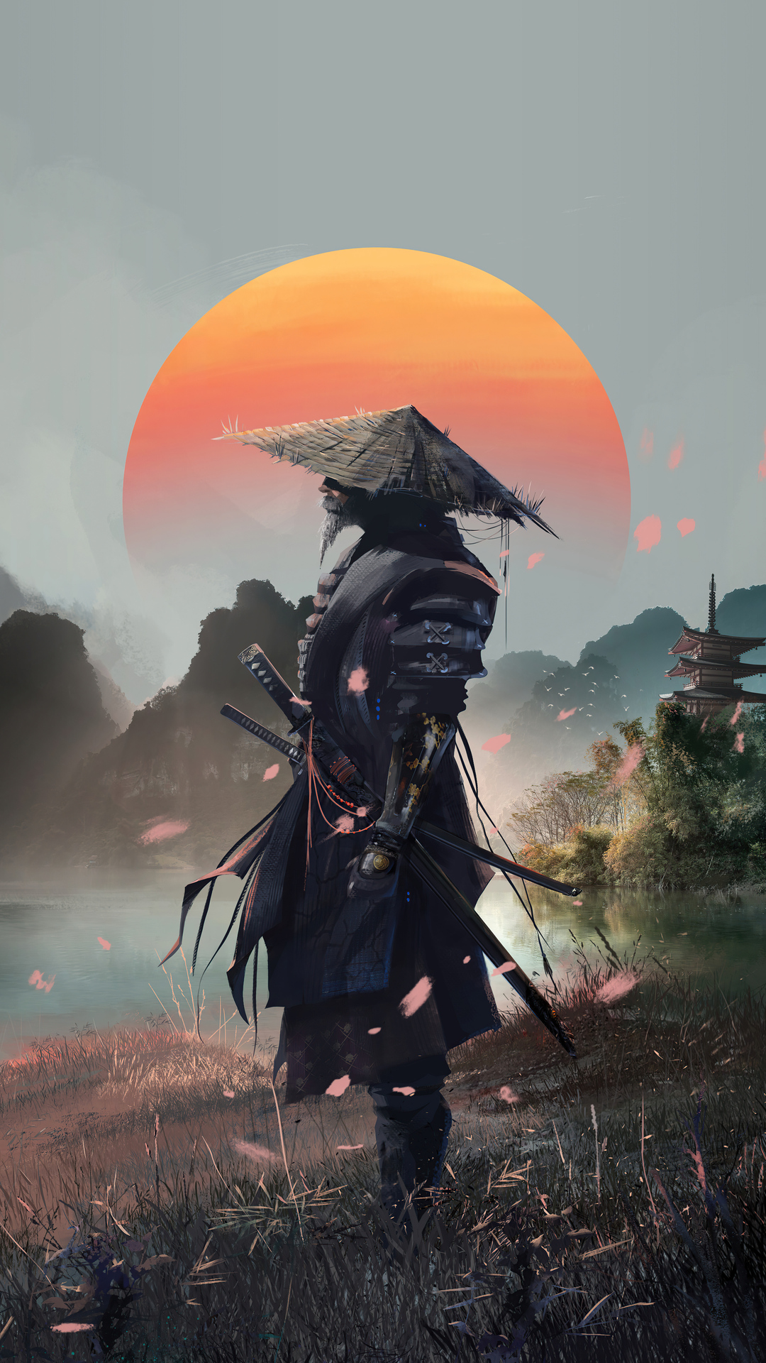 General 1080x1920 artwork fantasy art samurai Xavier Cuenca