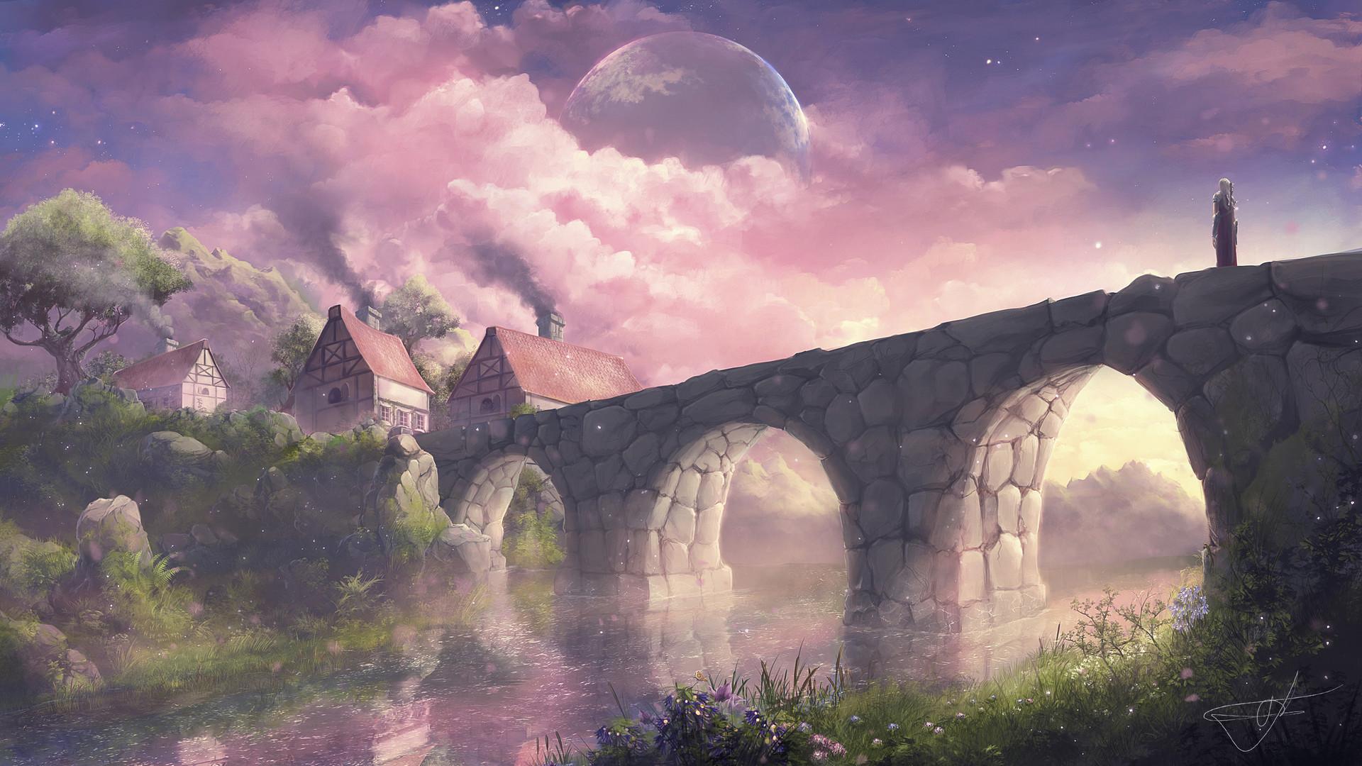 General 1920x1080 Max Suleimanov digital art landscape village pink clouds bridge cottage trees planet