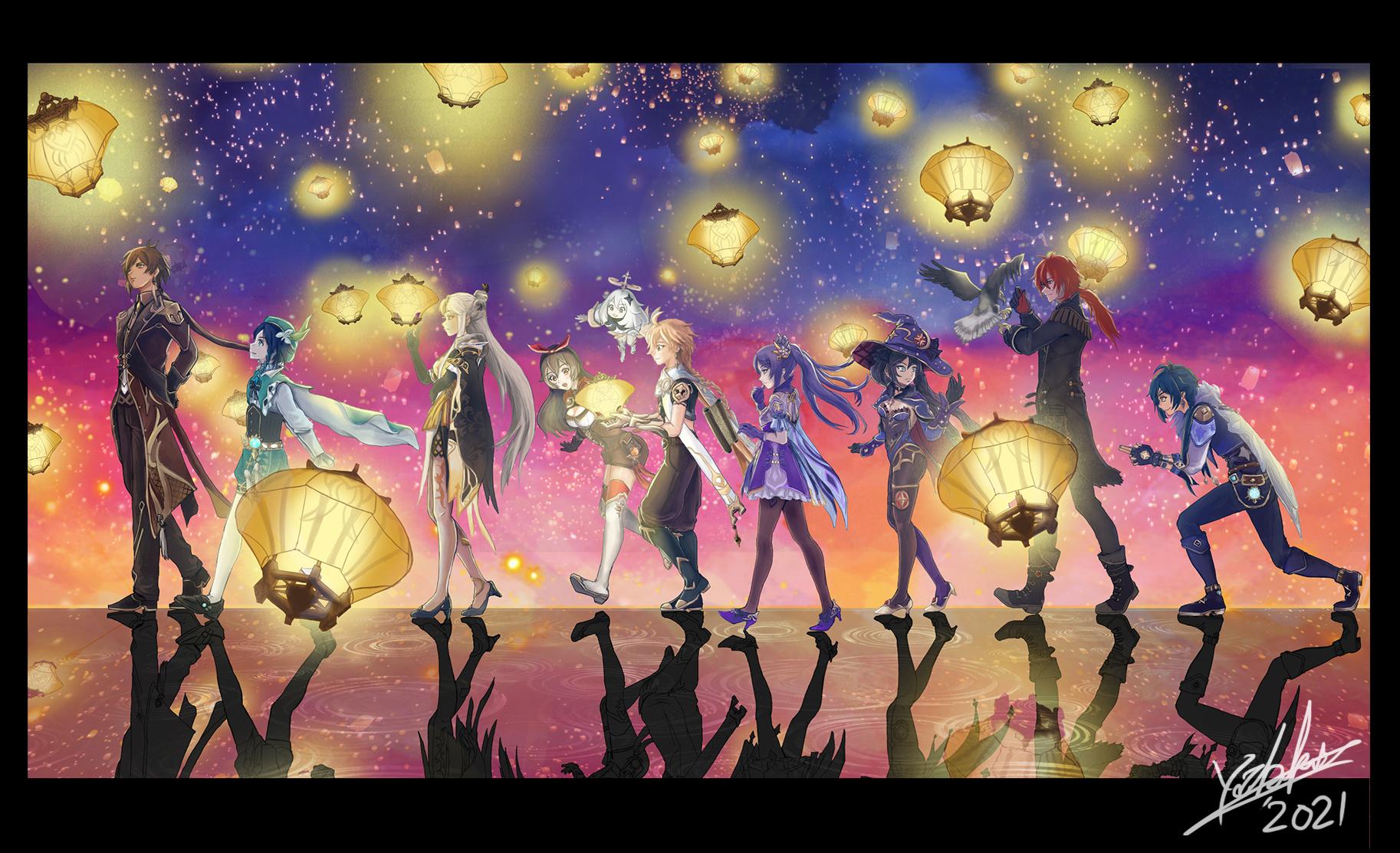 Anime 1826x1113 Genshin Impact Aether(genshin impact) Paimon(Genshin Impact) Zhongli (Genshin Impact) keqing (genshin impact) Ningguang (Genshin Impact) Venti (Genshin Impact) Amber (Genshin Impact) Mona (Genshin Impact) Diluc (Genshin Impact) Kaeya (Genshin Impact)