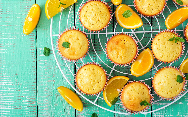 General 2880x1800 wooden surface sweets orange (fruit) food muffins mint leaves lemons green
