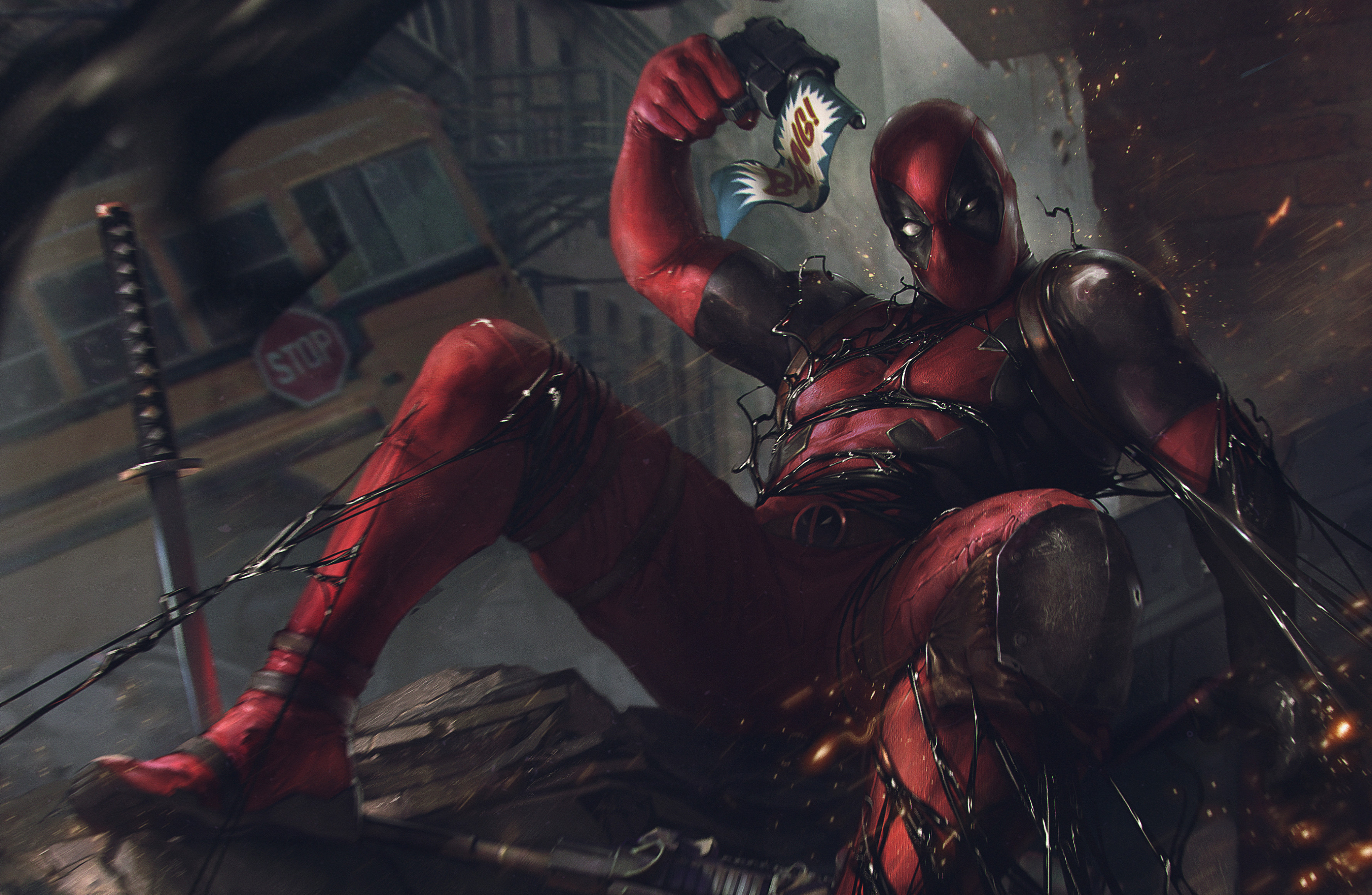 General 3557x2322 artwork digital art digital painting fan art Deadpool Deadpool 2 Symbiote katana