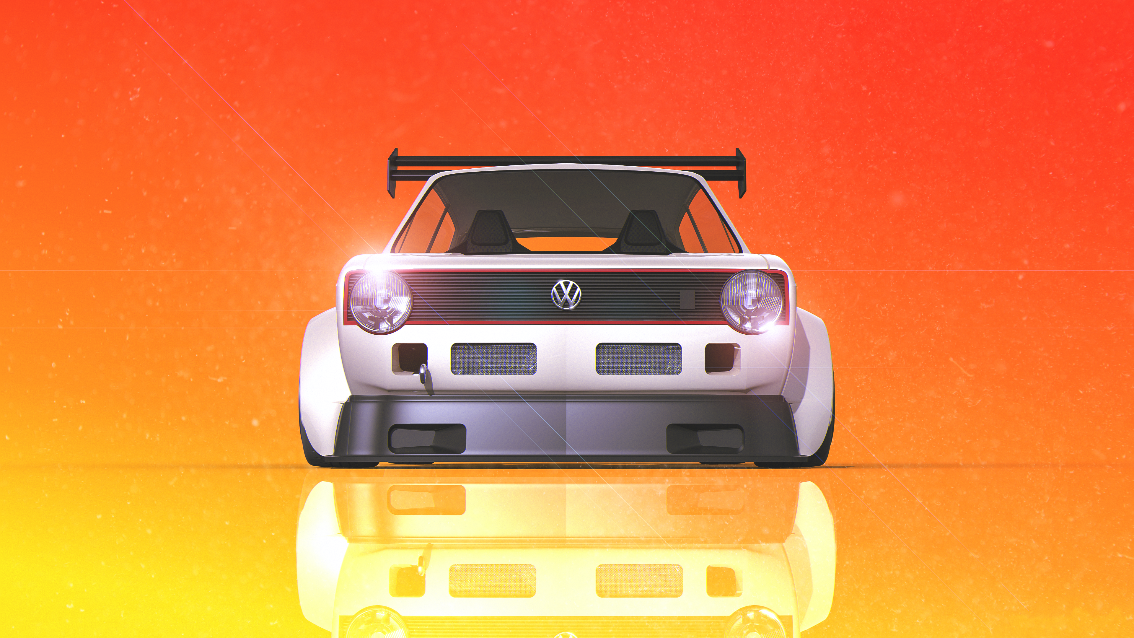 General 3840x2160 car Volkswagen Golf Golf 1 Golf GTI Volkswagen Golf GTI racing rally cars white gradient lens flare debris Volkswagen yellow orange vehicle orange background reflection frontal view low-angle