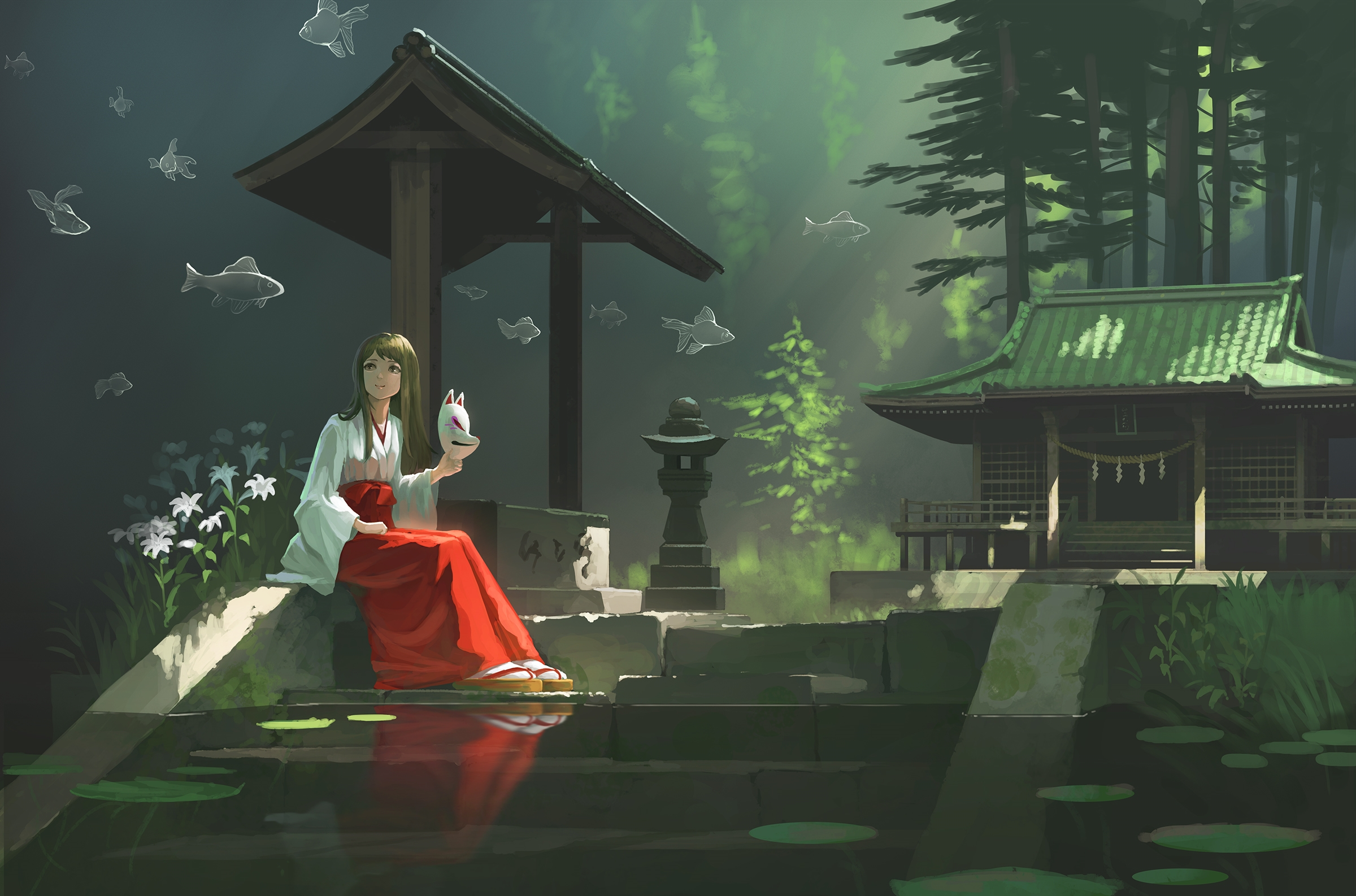 Anime 2400x1586 women dark hair long hair portrait looking away smiling mask artwork surreal digital art illustration painting 2D miko temple forest trees water flowers water lilies fish original characters fantasy art fox mask anime girls