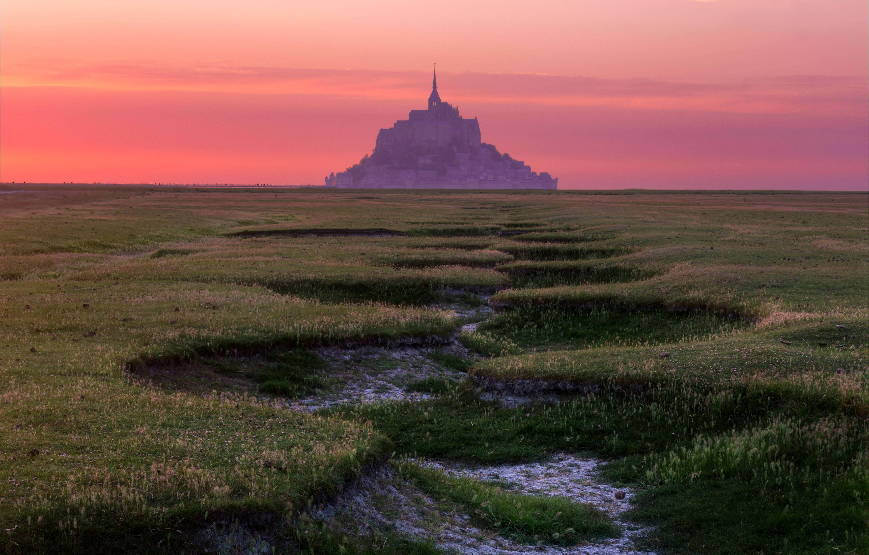 General 3600x2299 castle field Mont Saint-Michel France island landscape Abbey