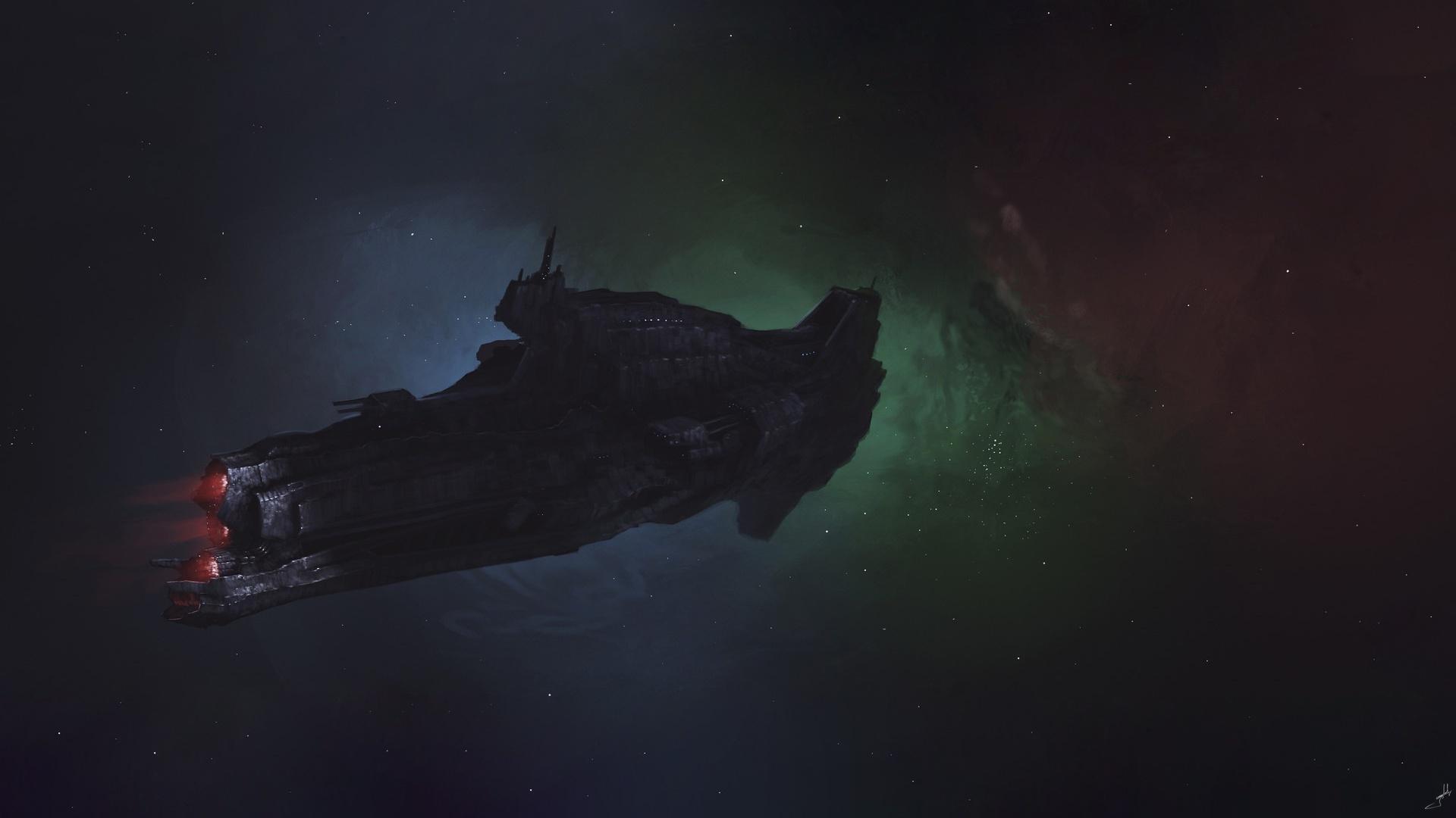 General 1920x1080 spaceship dark science fiction space artwork