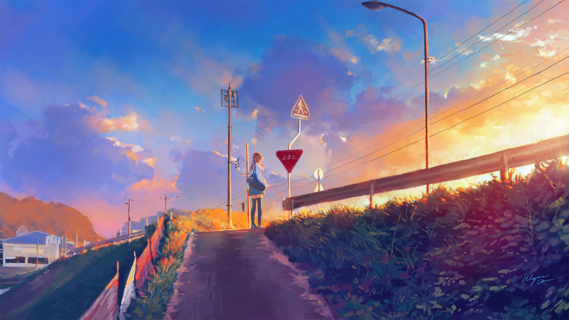 Anime 1920x1080 anime anime girls sunlight sky outdoors