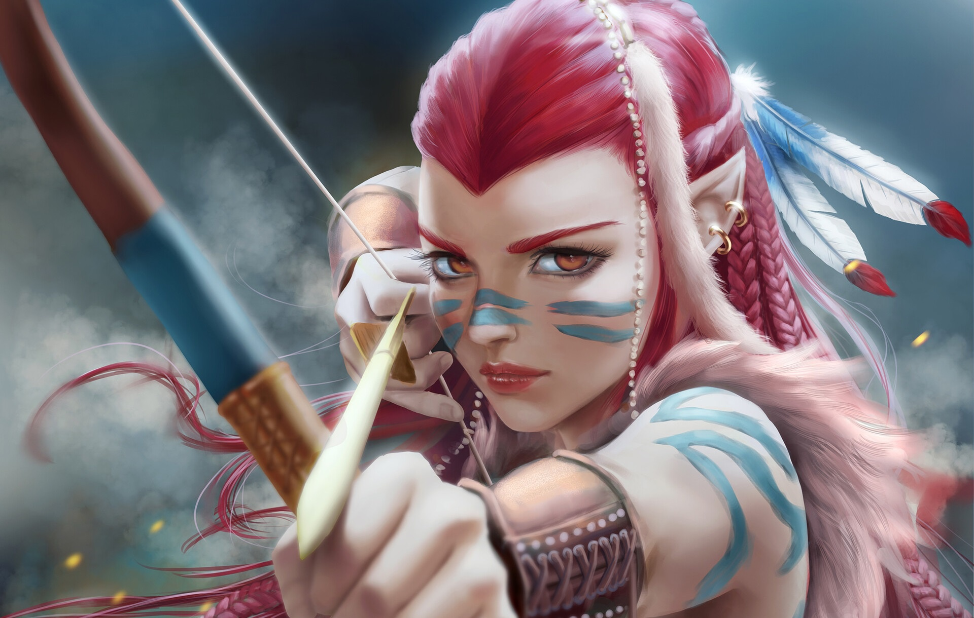 General 1920x1220 artwork archer bow fantasy art fantasy girl