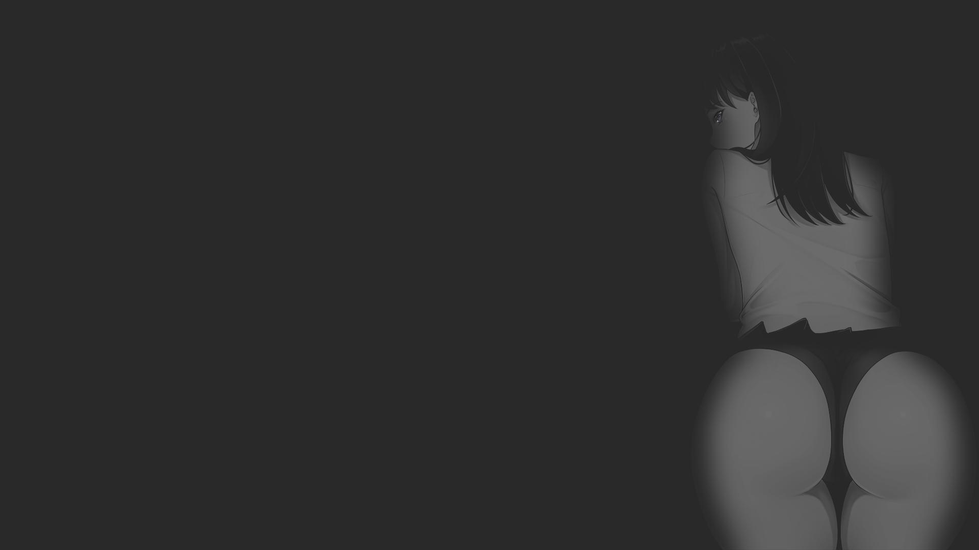 Anime 1920x1080 anime manga anime girls illustration dark background texture minimalism monochrome SSSS.GRIDMAN erotic art  ecchi pantsu shot uniform school uniform ass