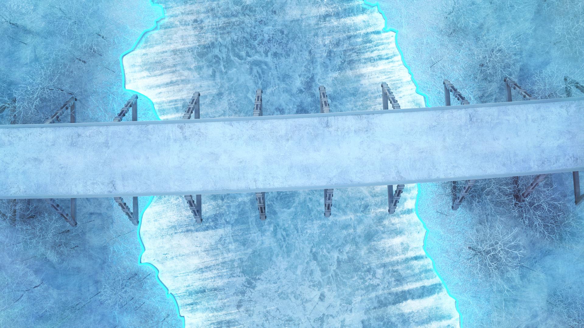 General 1920x1080 cold winter ice frozen river frozen water floating particles cracked trees neon neon glow road bridge concrete grunge pillar digital art 3D graphics cyan