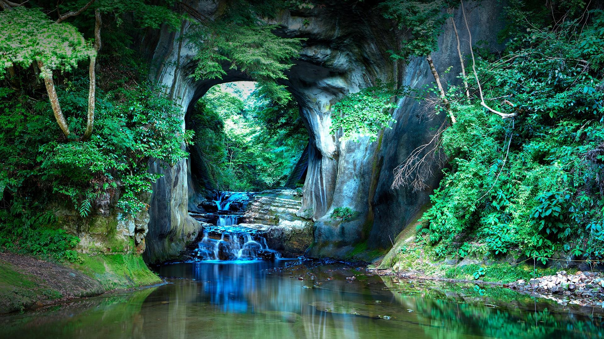 General 1920x1080 nature landscape cave river water trees rocks plants forest Japan Kameiwa Cave