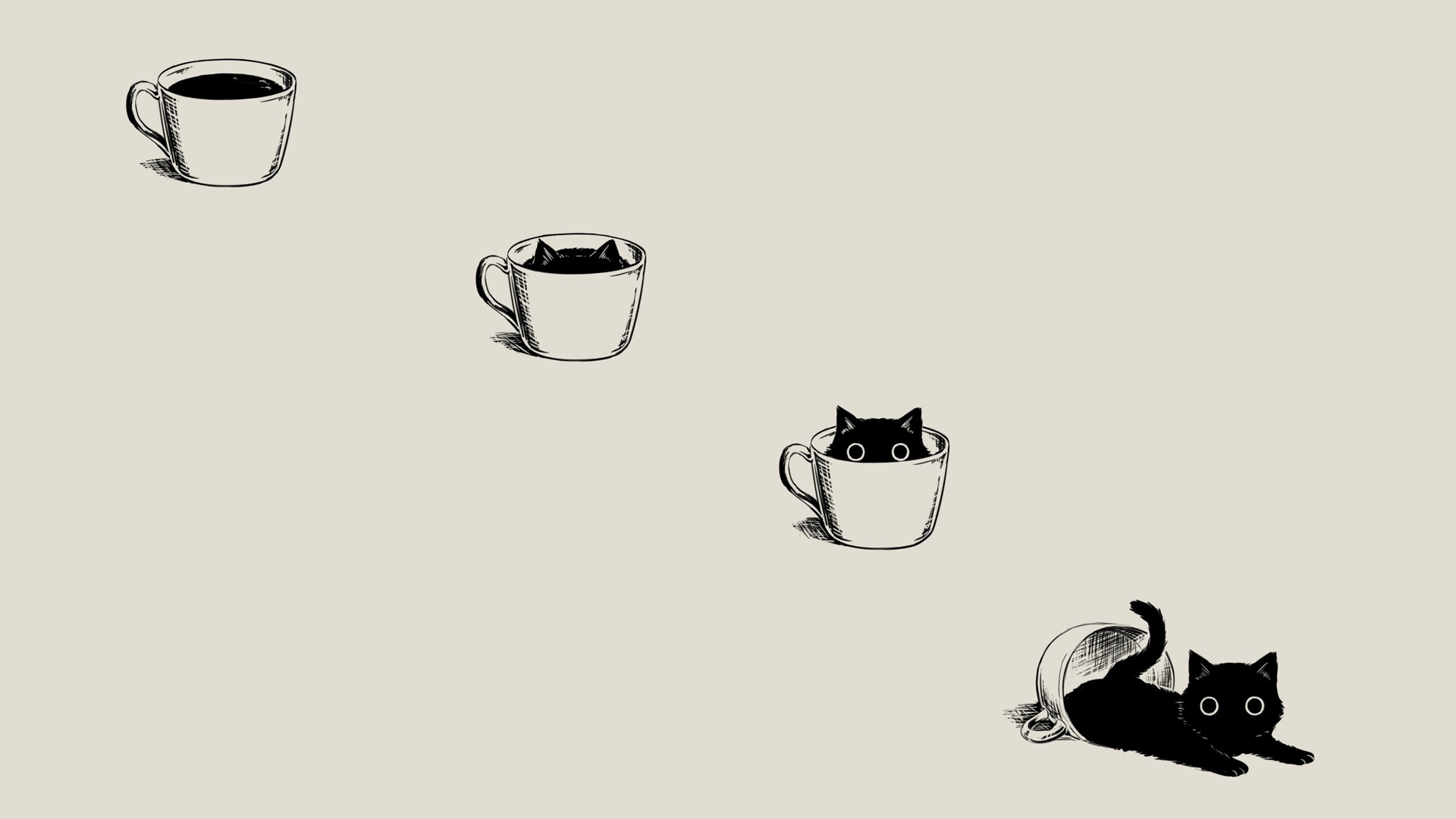 Anime 1920x1080 anime manga minimalism simple background coffee black cats beige cats animals